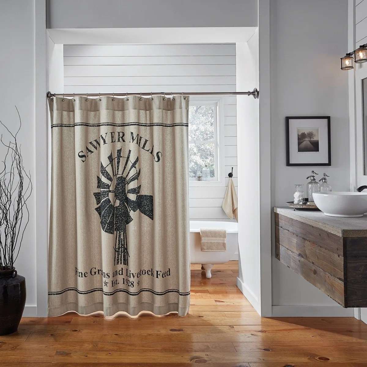Bathroom Shower Curtain Vhc Sawyer Mill Farmhouse Bath Windmill Shower Curtain