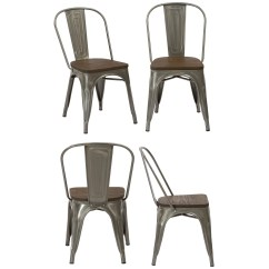 Distressed Dining Chairs Black And White Accent With Arms Shop Industrial Wood Antique Gun Metal Rustic