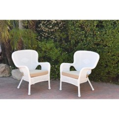 White Resin Wicker Chairs La Z Boy Martin Big And Tall Executive Office Chair Brown Shop Set Of 2 Windsor With Cushion Free