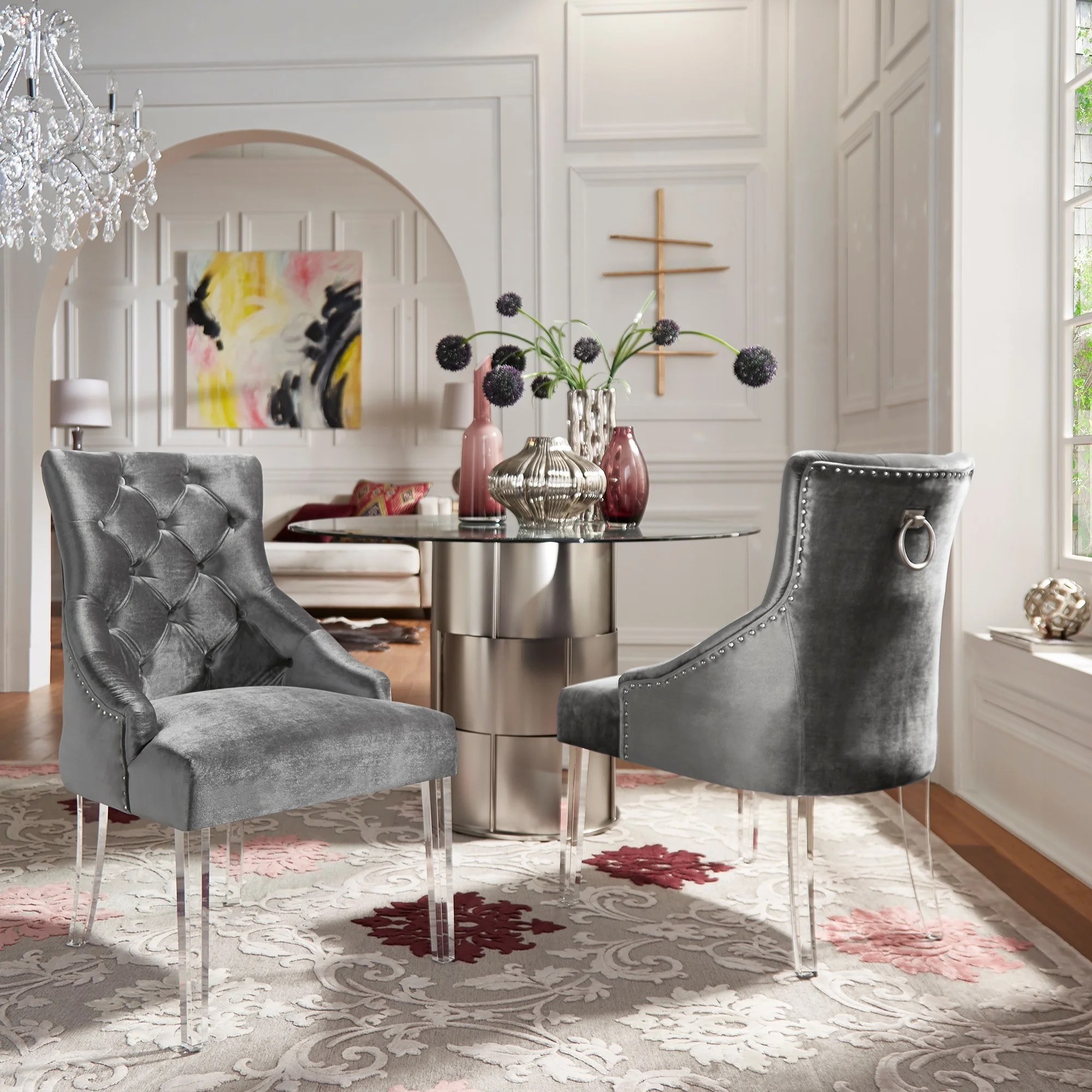 velvet tufted chair tripod folding shop gina dining set of 2 with acrylic legs by inspire q bold
