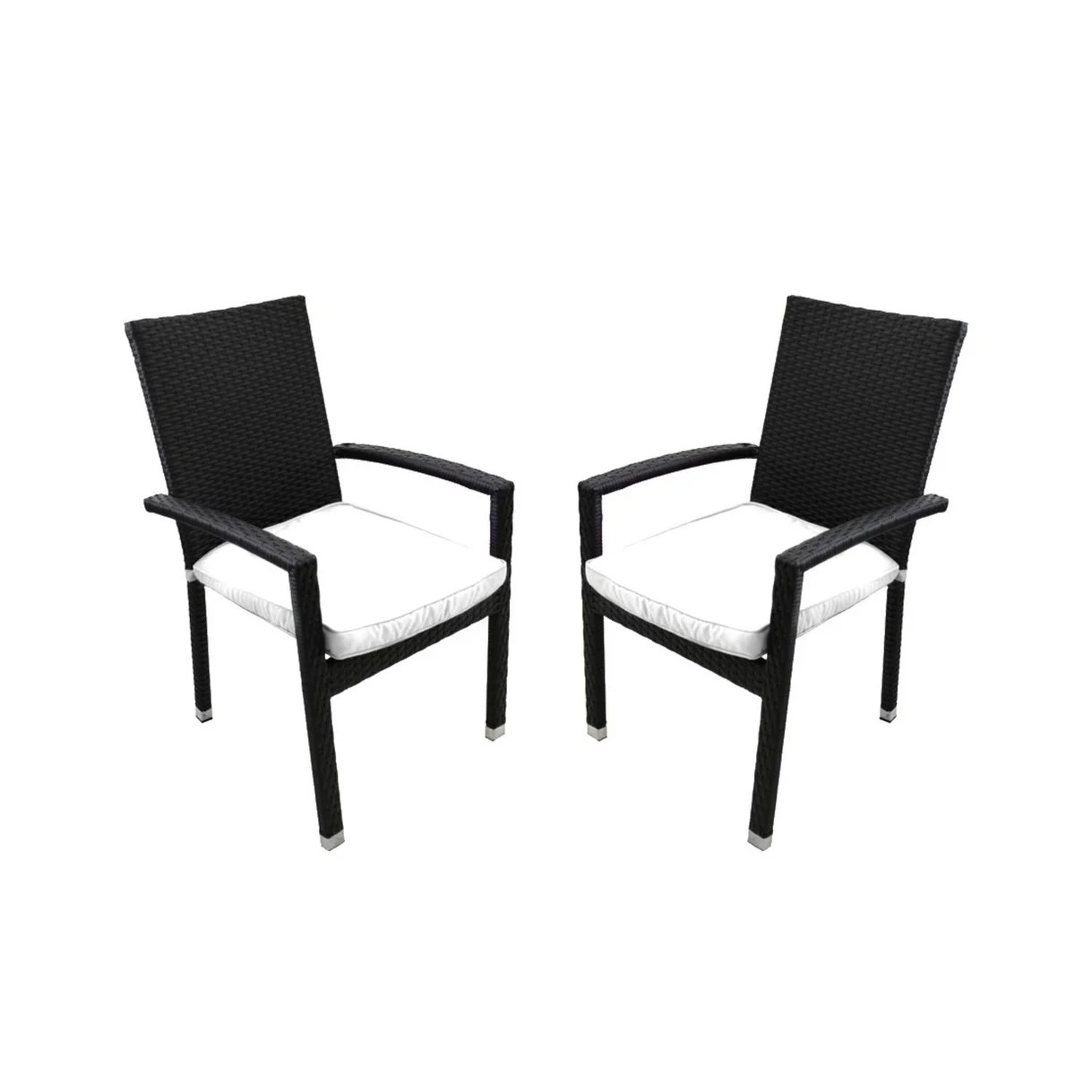 Resin Chairs Set Of 2 Black Resin Wicker Outdoor Patio Furniture Dining Chairs White Cushions