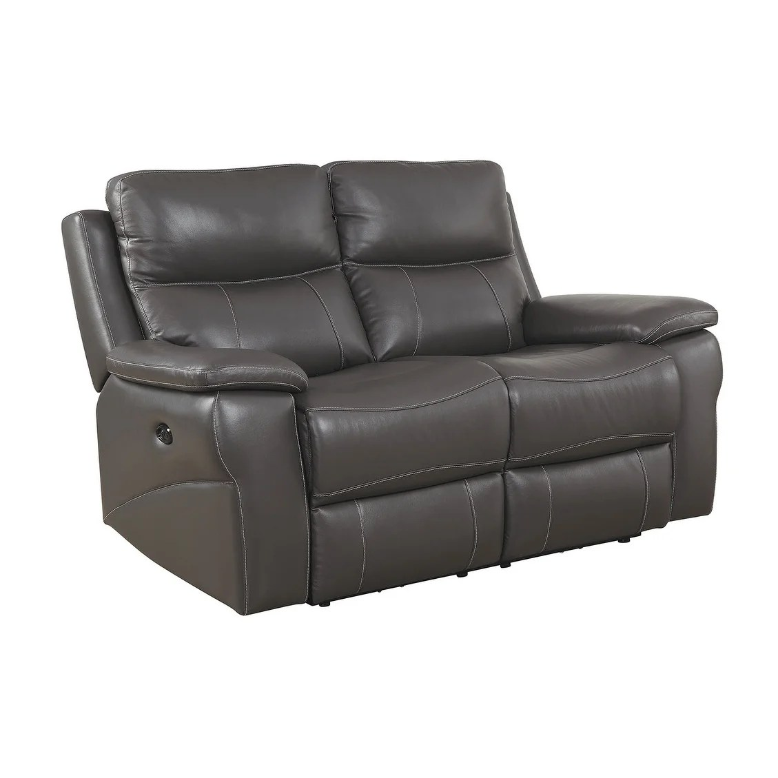 Double Recliner Chair Contemporary Style Double Recliner Leather Love Seat Gray