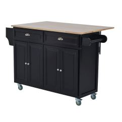 Kitchen Cart Table Nutone Exhaust Fan Shop Homcom Wood Top Drop Leaf Multi Storage Cabinet Rolling Island With Wheels Black