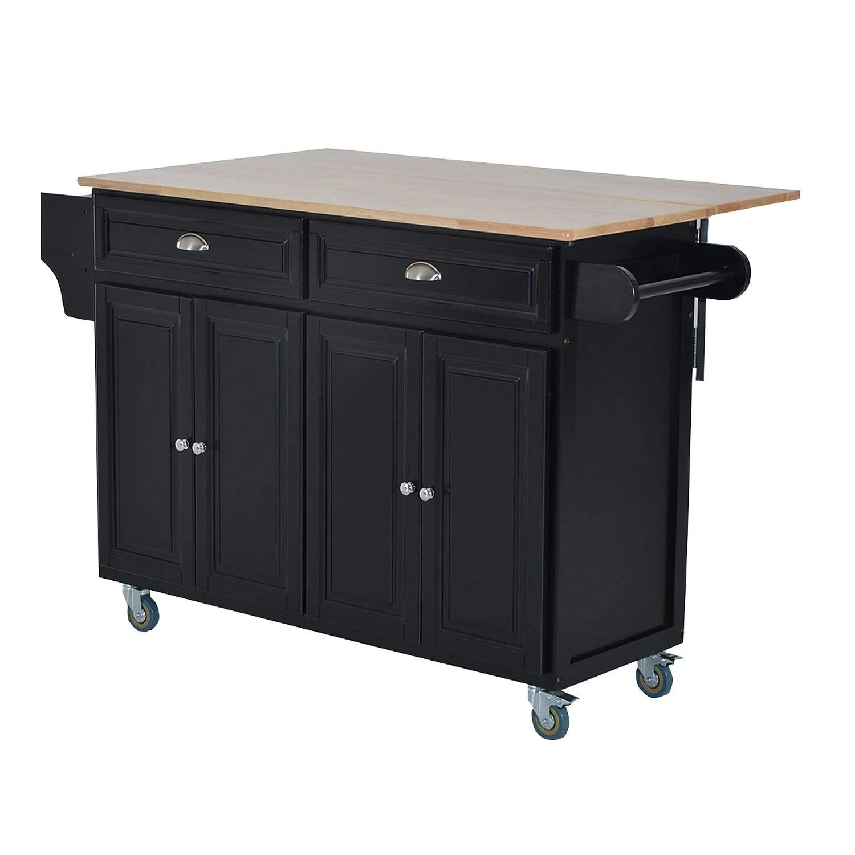 kitchen cart table tile floor shop homcom wood top drop leaf multi storage cabinet rolling island with wheels black