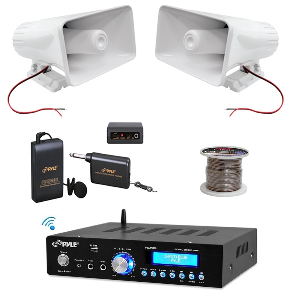 hight resolution of shop pyle bluetooth stereo amplifier compact amp receiver pa horn speakers wireless microphone system and 100 ft spool zip wire free shipping today