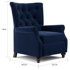Push Back Chair Portable Pedicure Shop Copper Grove Kamoya Navy Blue Velvet Small Recliner