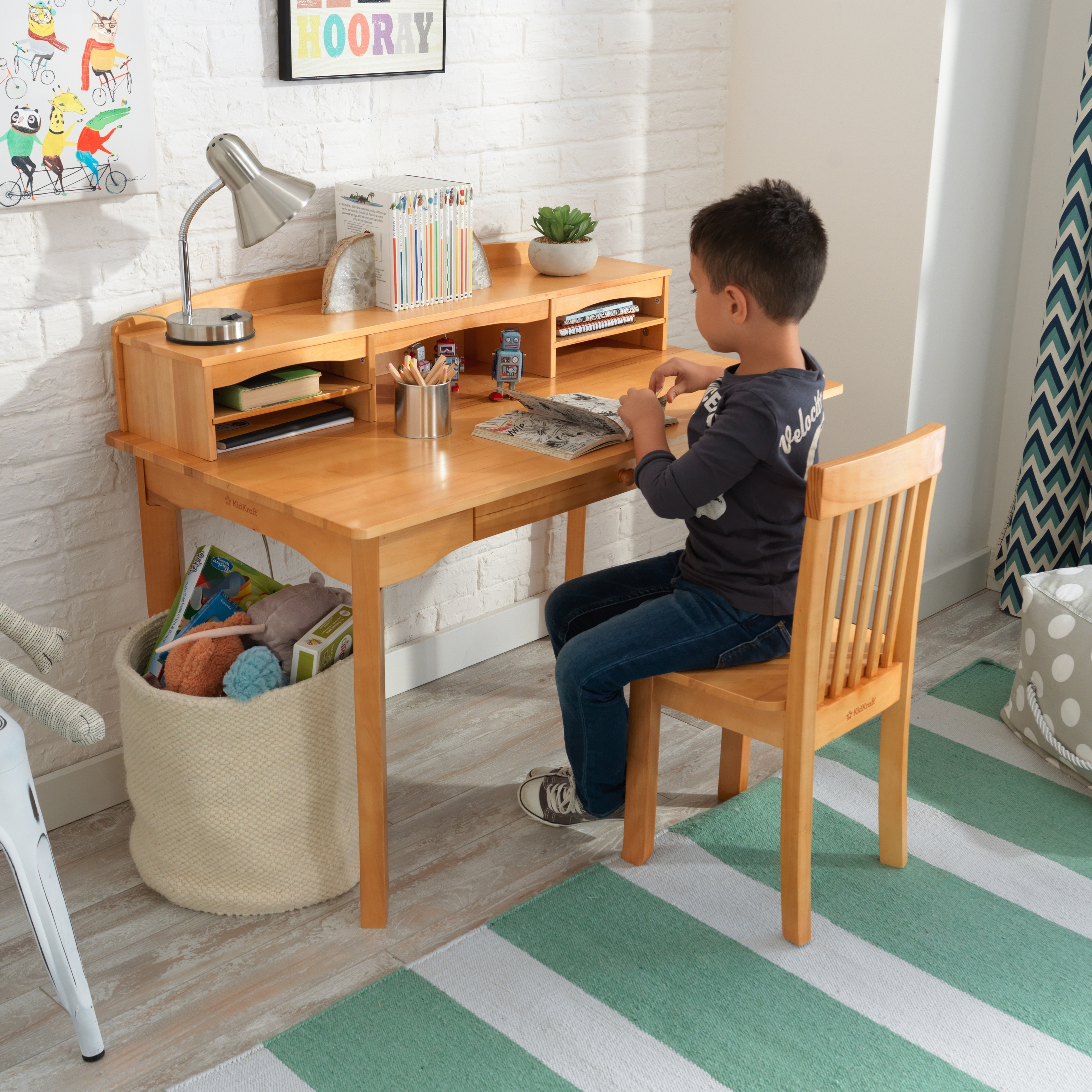 kidkraft avalon chair wooden rocking covers shop desk with hutch and natural free