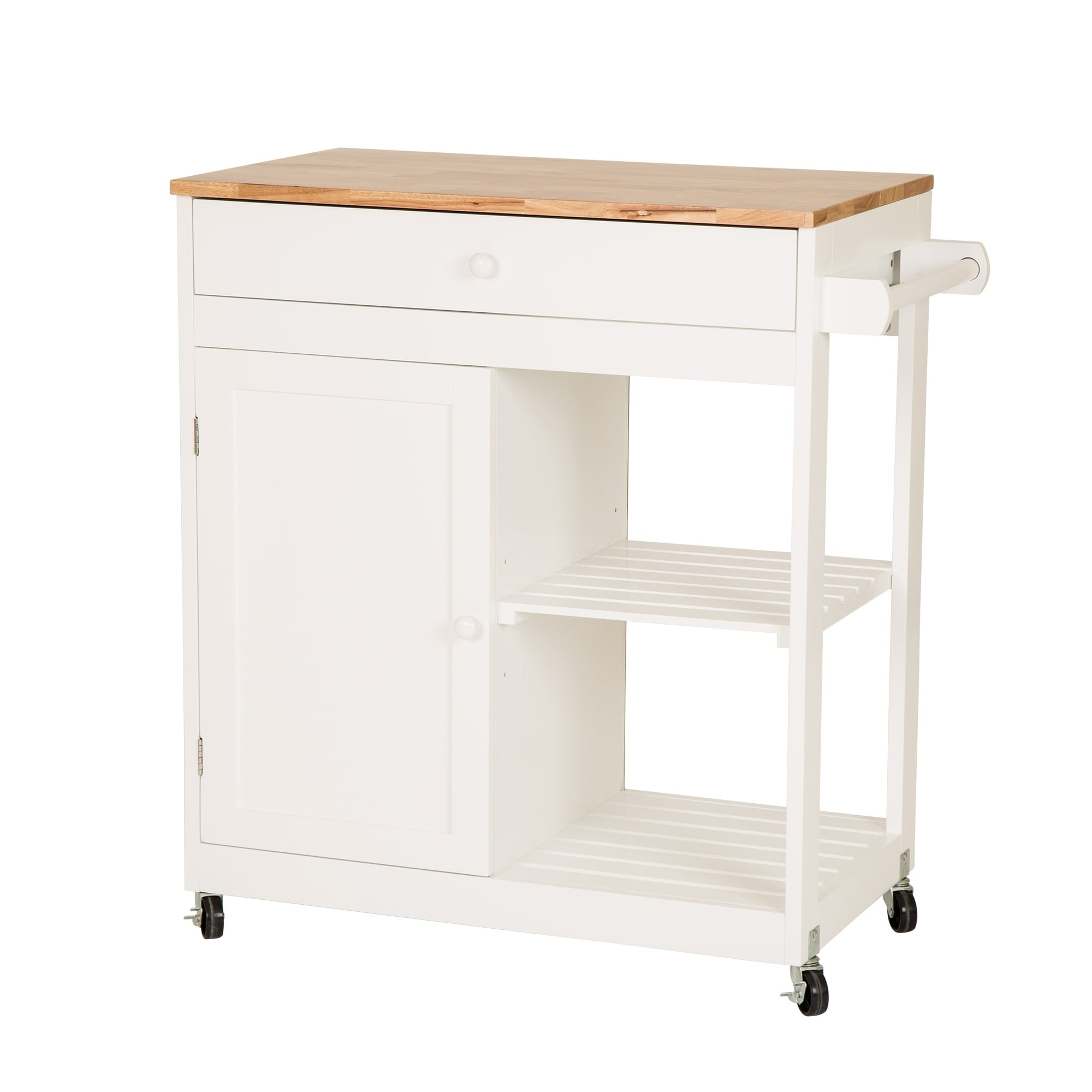 white kitchen island cart waverly curtains shop glitzhome with rubber wooden top on sale free shipping today overstock com 23468088