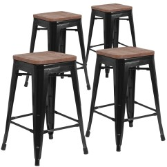 Backless Chair Height Stool Cyprinus Accessories Shop 4 Pk 24 High Metal Counter With Square Wood Seat