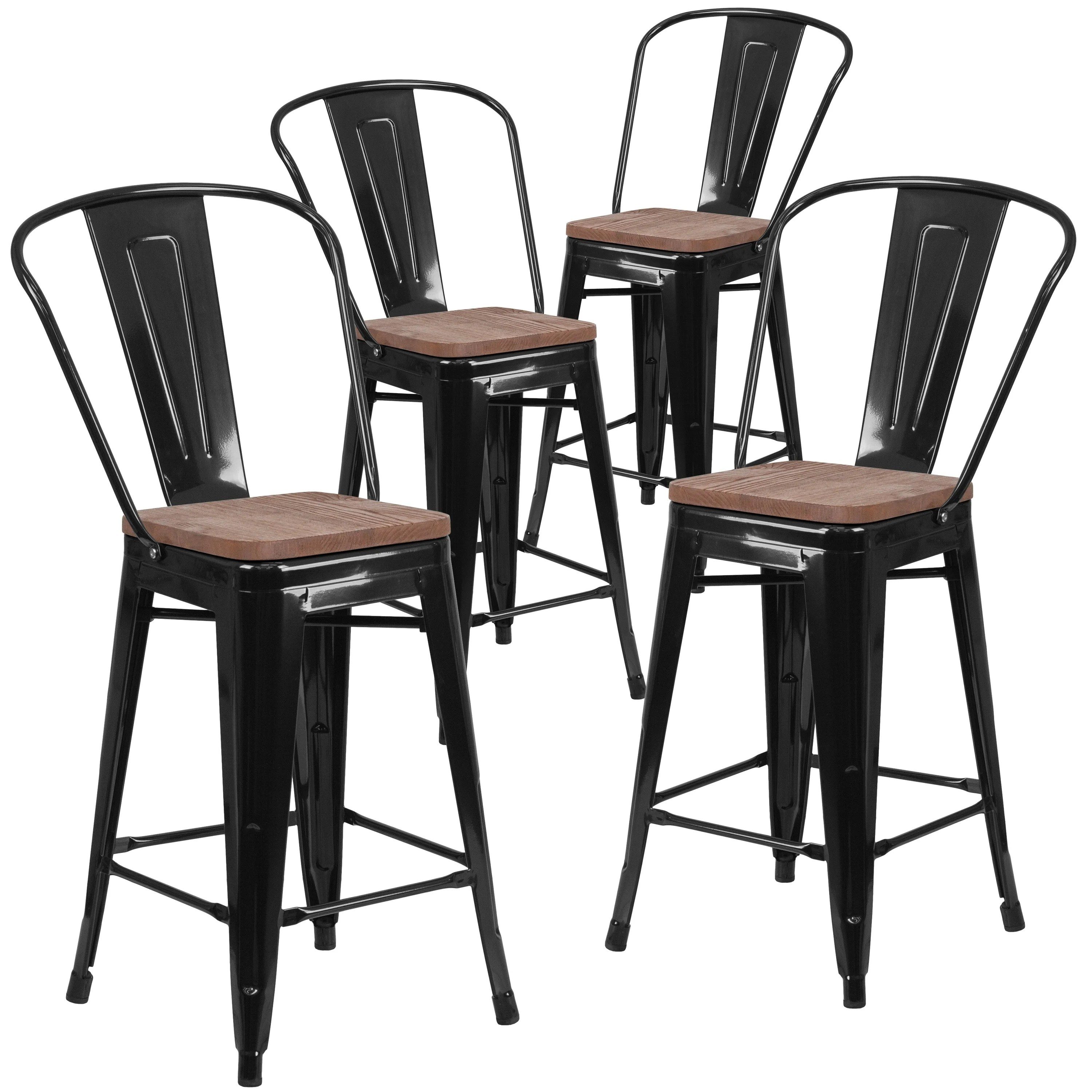 counter height chairs with back cushions for teak steamer shop 4 pk 24 high metal stool and wood seat