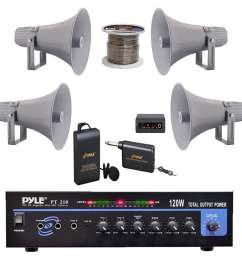 shop pyle pt210 pa mono amplifier 12 7 pa horn speakers speaker wire microphone free shipping today overstock com 23503984 [ 1000 x 1000 Pixel ]