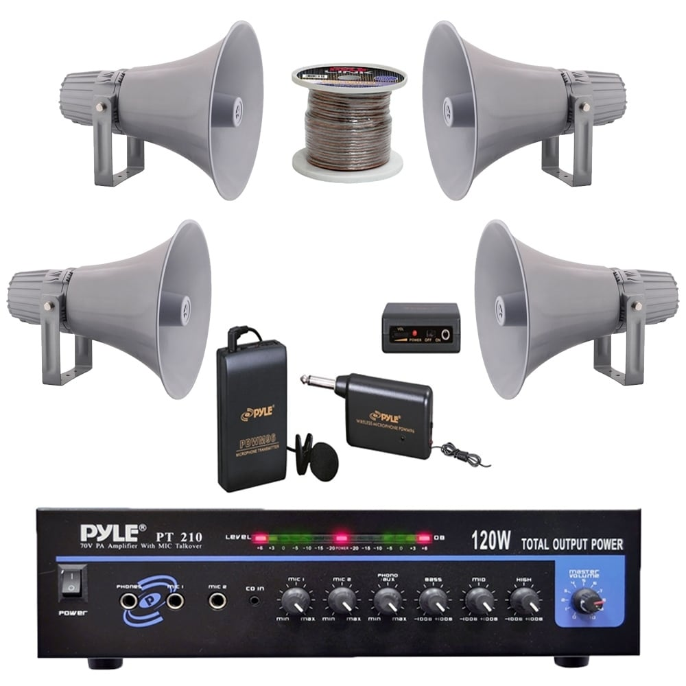 hight resolution of shop pyle pt210 pa mono amplifier 12 7 pa horn speakers speaker wire microphone free shipping today overstock com 23503984