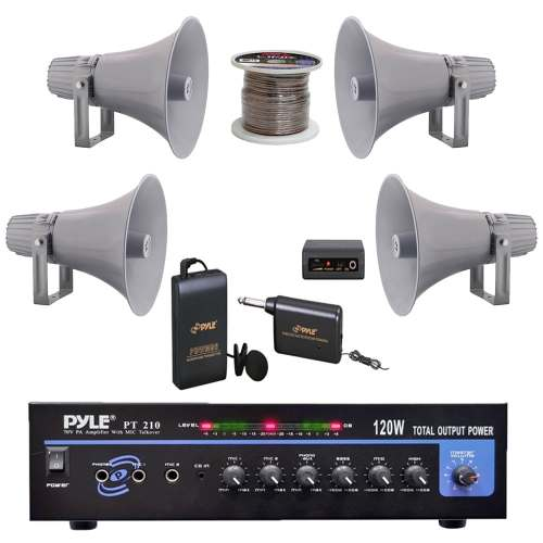 small resolution of shop pyle pt210 pa mono amplifier 12 7 pa horn speakers speaker wire microphone free shipping today overstock com 23503984