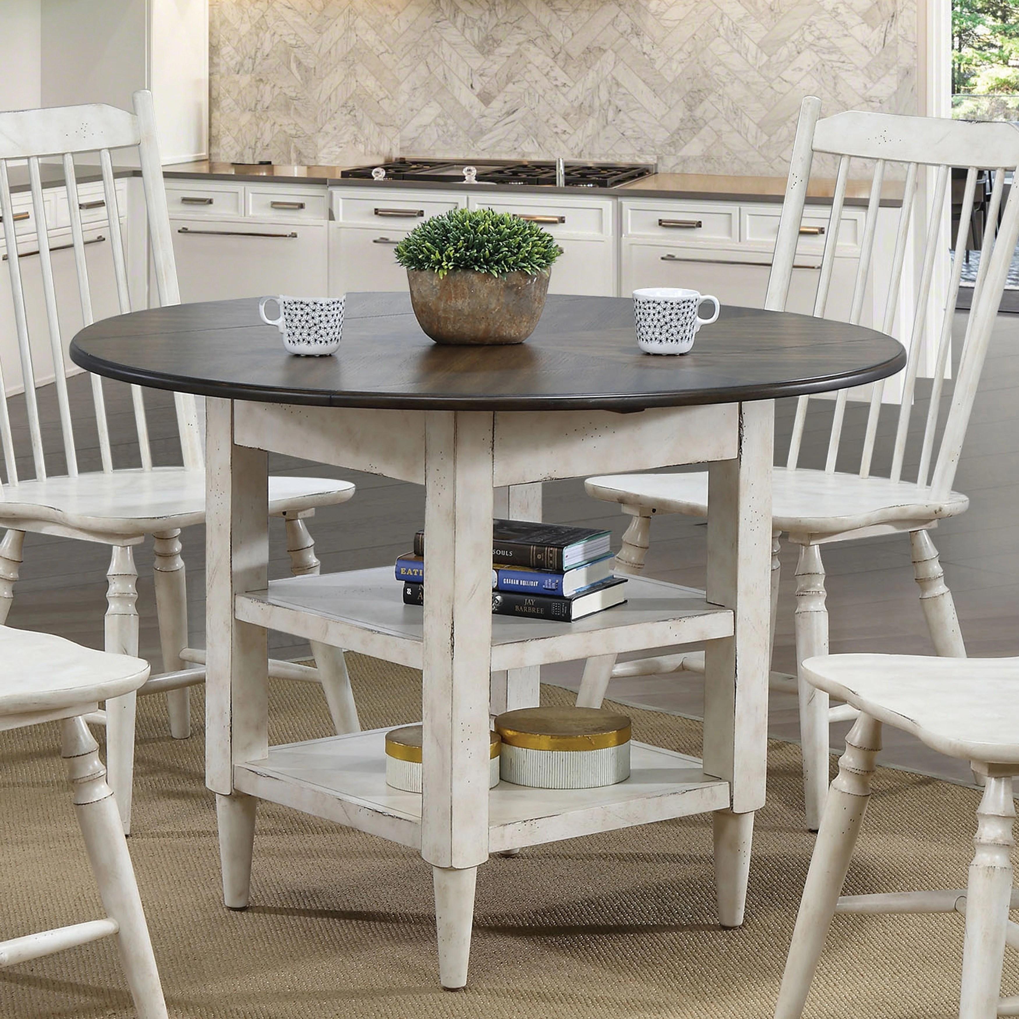 white round kitchen table corner shelf shop furniture of america darion rustic antique dining oak