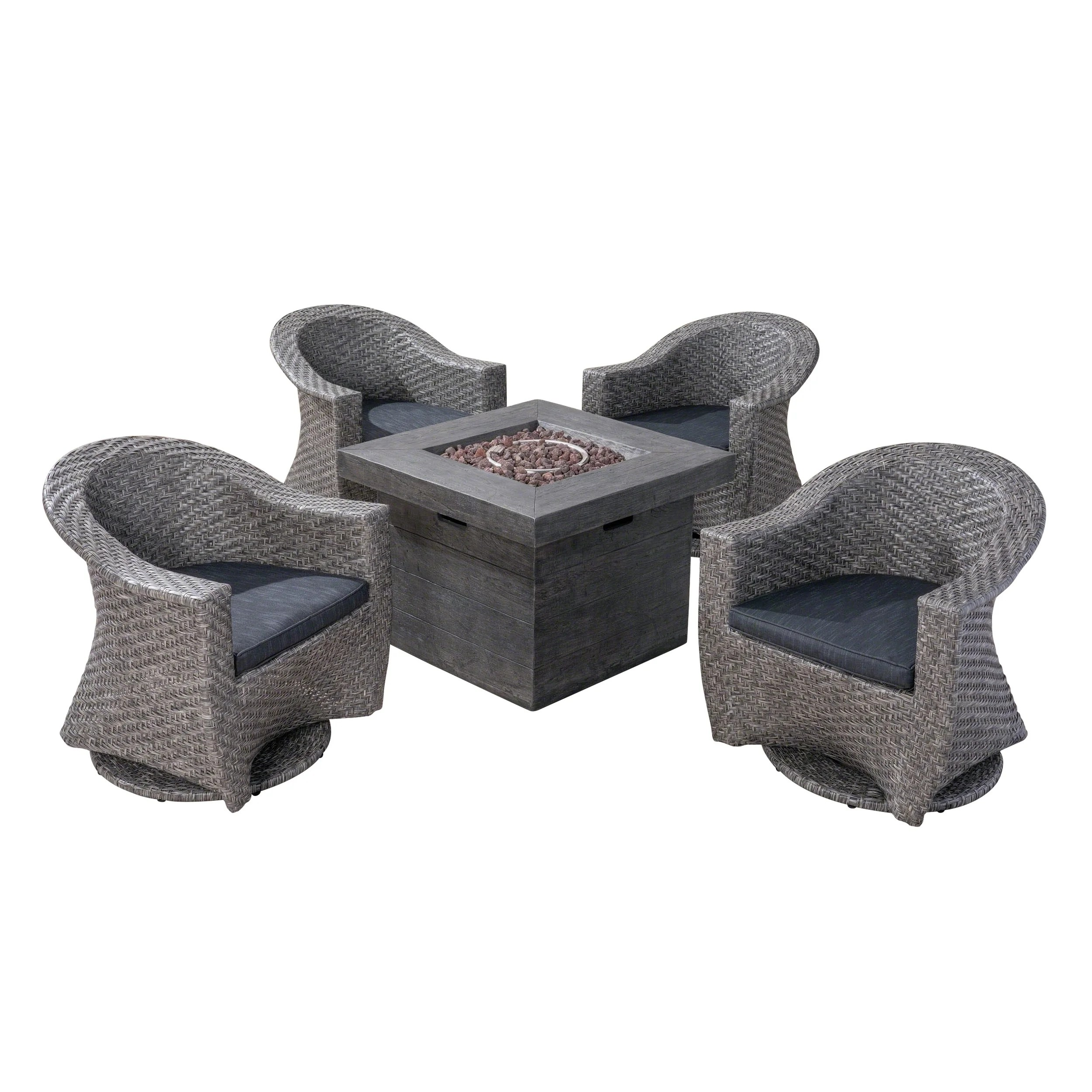 Wicker Swivel Chair Savoy Outdoor 4 Seater Wicker Swivel Chairs With Fire Pit Set Set Of 4 By Christopher Knight Home