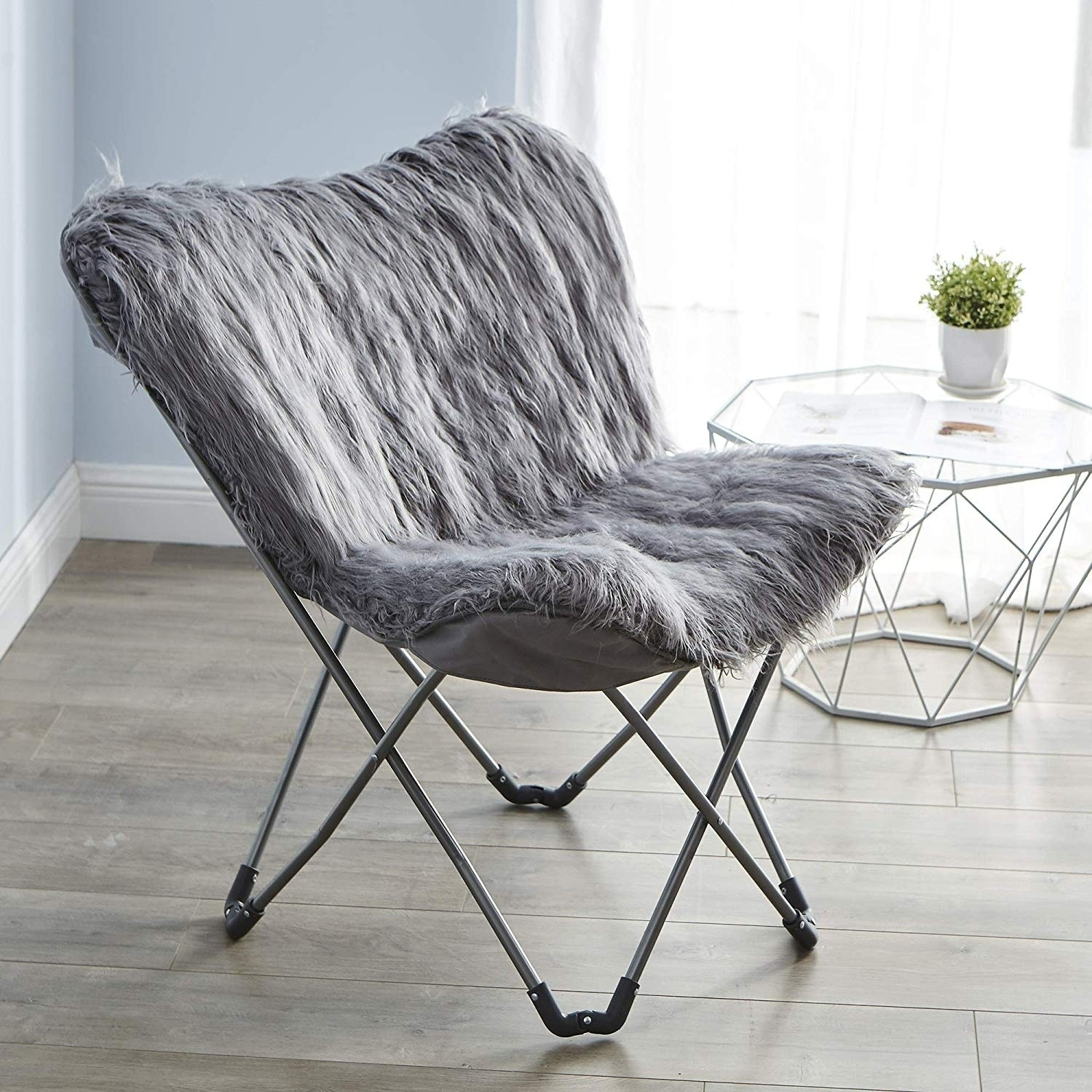 Fur Butterfly Chair Faux Fur Butterfly Chair Dark Gray