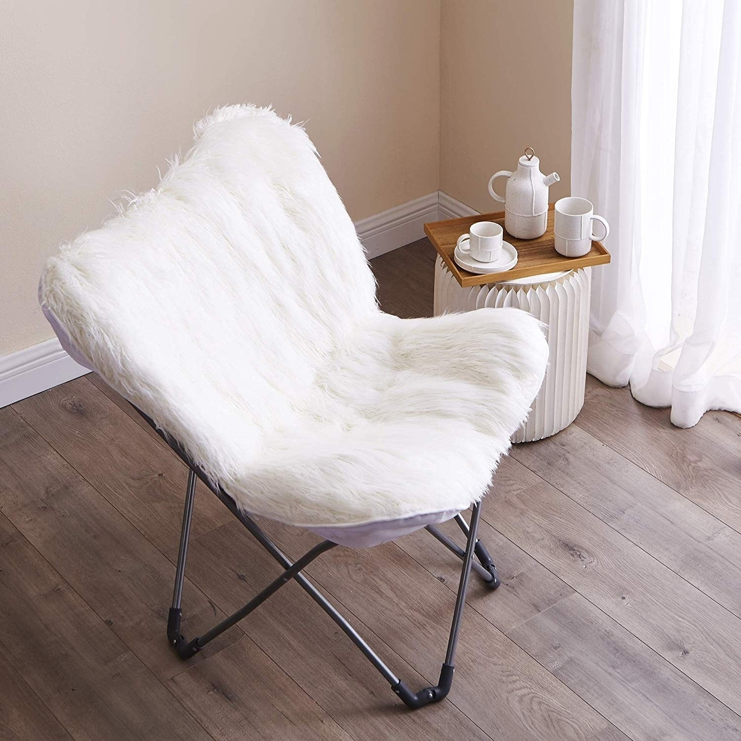 Fur Butterfly Chair Faux Fur Butterfly Chair White