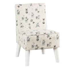 Modern Slipper Chair Fishing Fighting Shop Homepop Kids Stain Resistant French Bulldog Print
