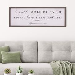 White Wall Decorations Living Room Small Ideas With Mirrors Shop Patton Decor Walk By Faith Bible Verse Rustic Wood Framed Art 12x36