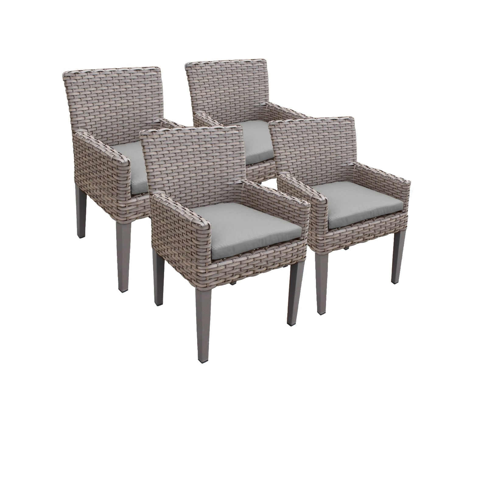 Outdoor Wicker Dining Chairs Tk Classics Monterey Aluminum Resin Wicker Dining Chairs With Arms Set Of 4