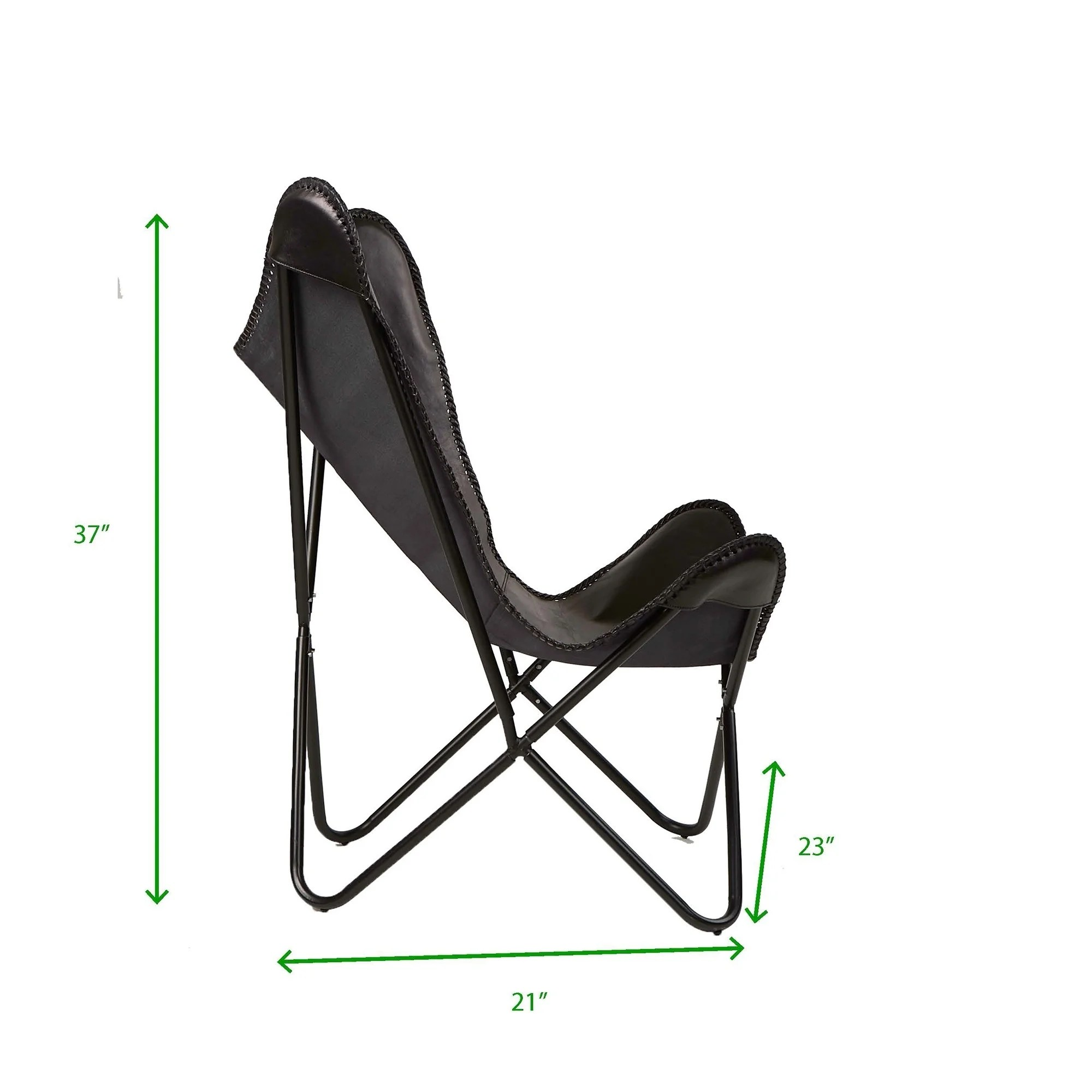 Butterfly Folding Chair Mind Reader Black Portable Folding Butterfly Chair With Metal Frame