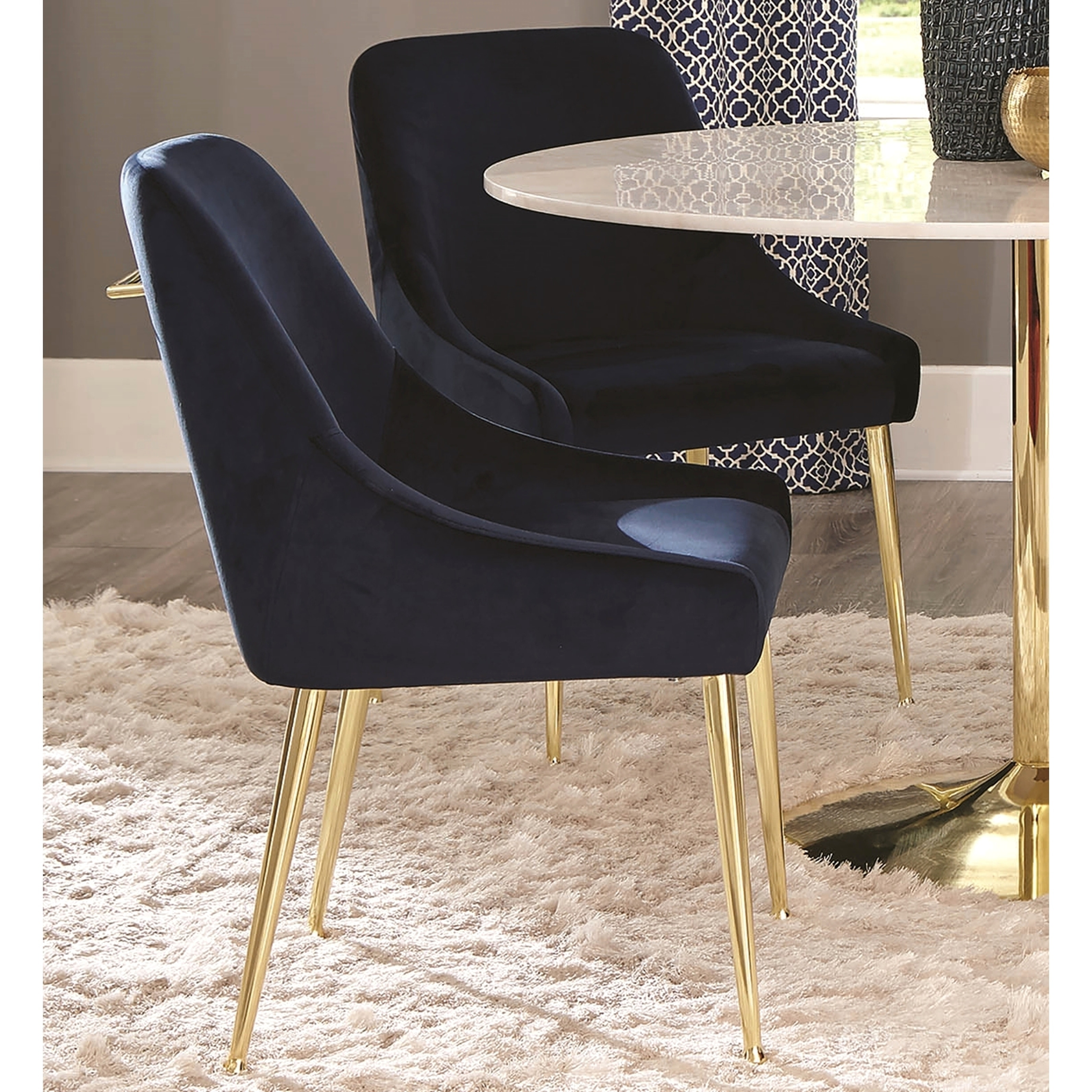 dining chairs italian design svan baby to booster high chair shop mid century classic blue velvet with brass legs set of 2