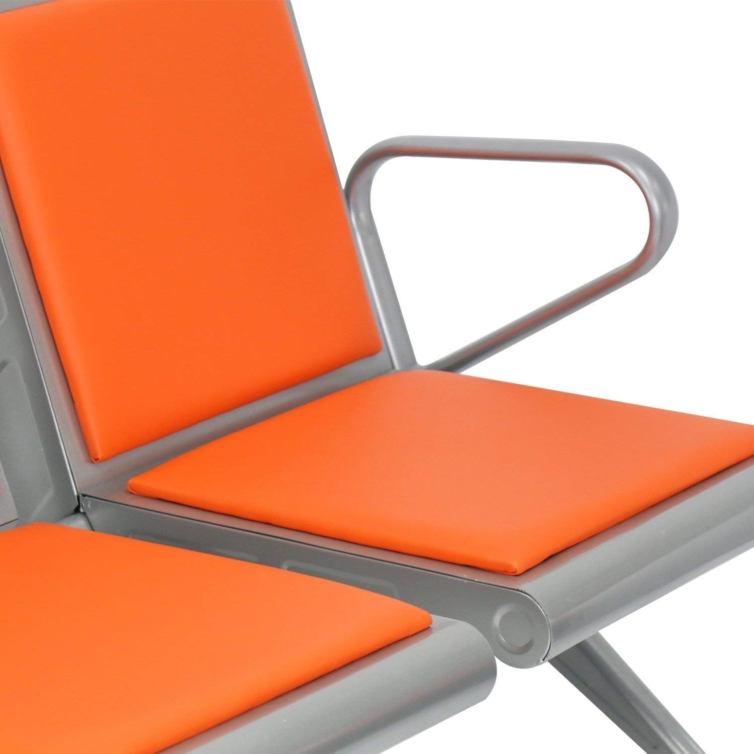 orange chair salon swivel counter chairs shop kinbor 3 seat leather airport reception waiting guest barber bank bench free shipping today overstock com 24268129
