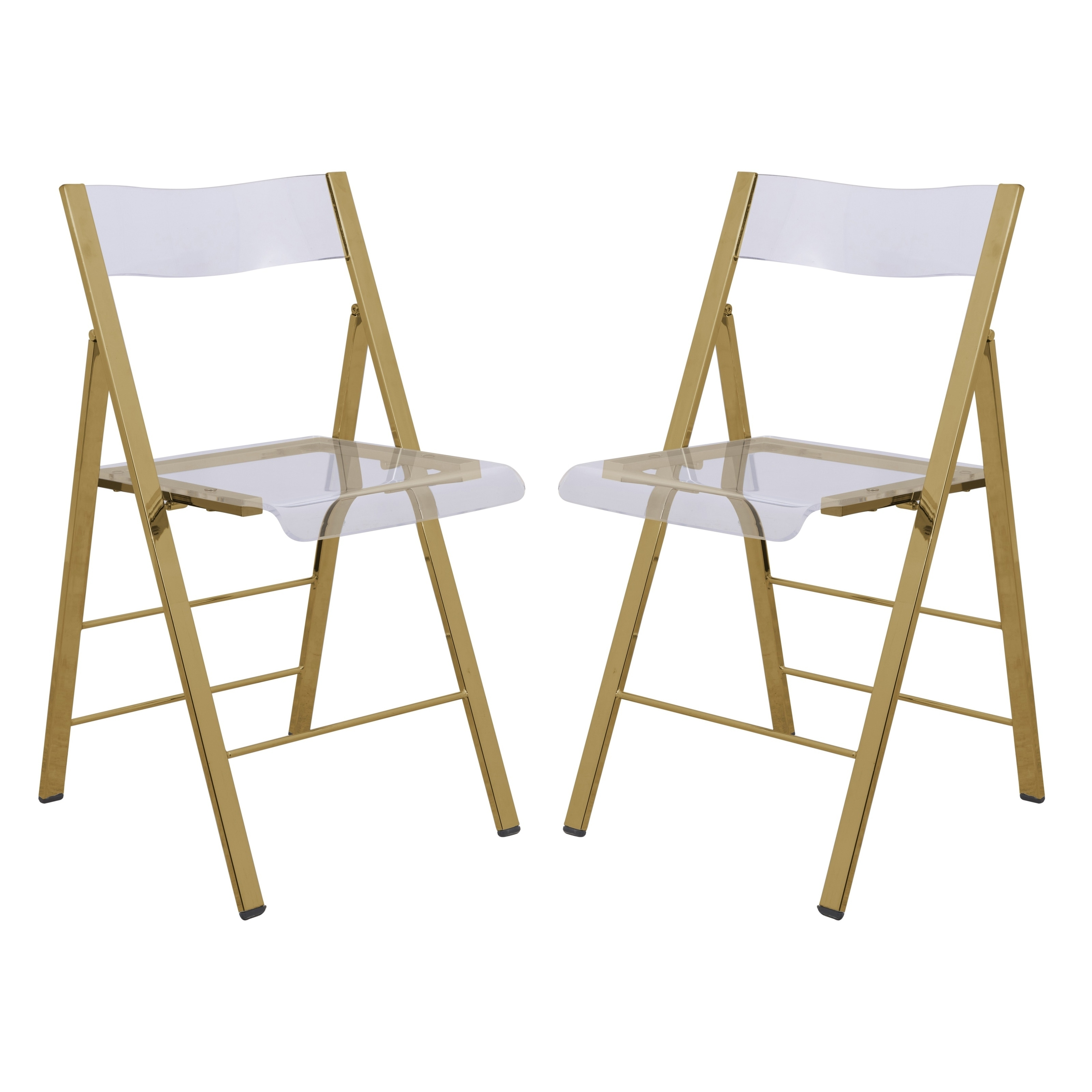 Foldable Dining Chairs Leisuremod Menno Clear Gold Chrome Frame Folding Dining Chair Set Of 2