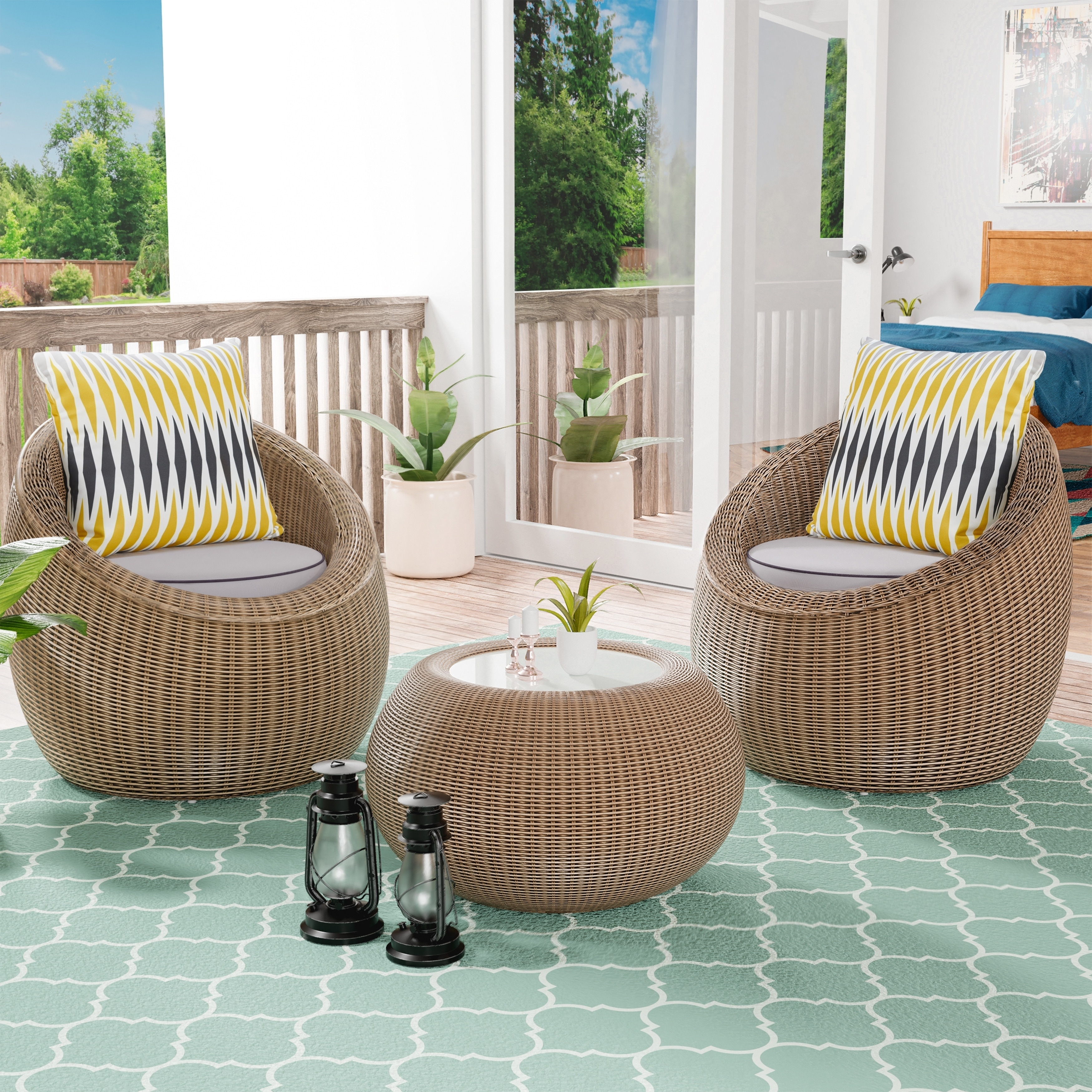 Wicker Patio Chair Havenside Home Cobb Island 3 Piece All Weather Wicker Patio Chair Set