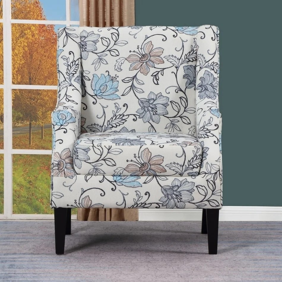 Upholstered Living Room Chairs Aydin Blue White Floral Upholstered Living Room Chair