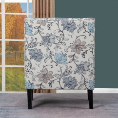 Floral Upholstered Chair Galvanized Steel Chairs Shop Aydin Blue White Living Room Free