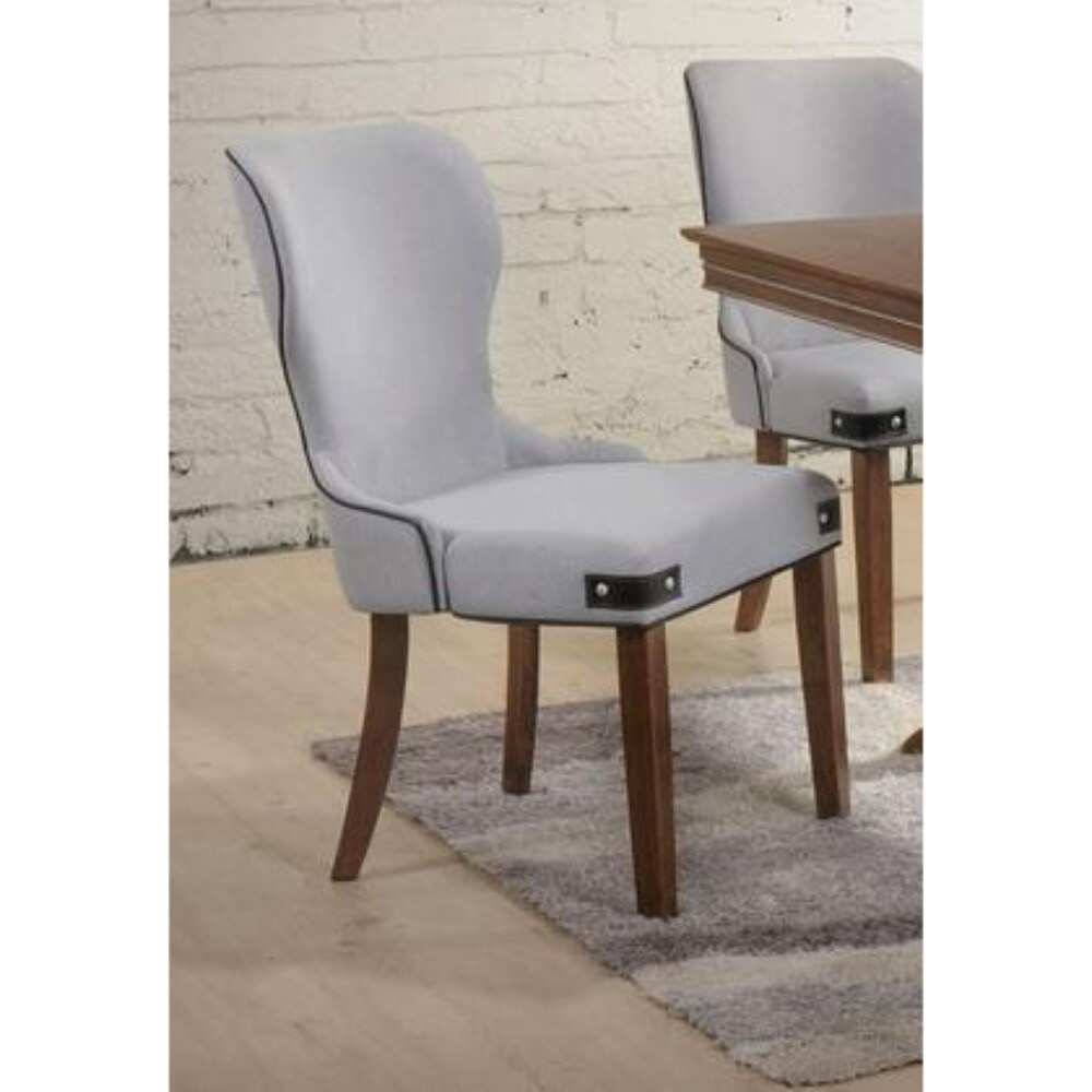 Wingback Dining Room Chairs Wingback Wooden Side Chair With Fabric Upholstery Set Of 2 Gray And Brown