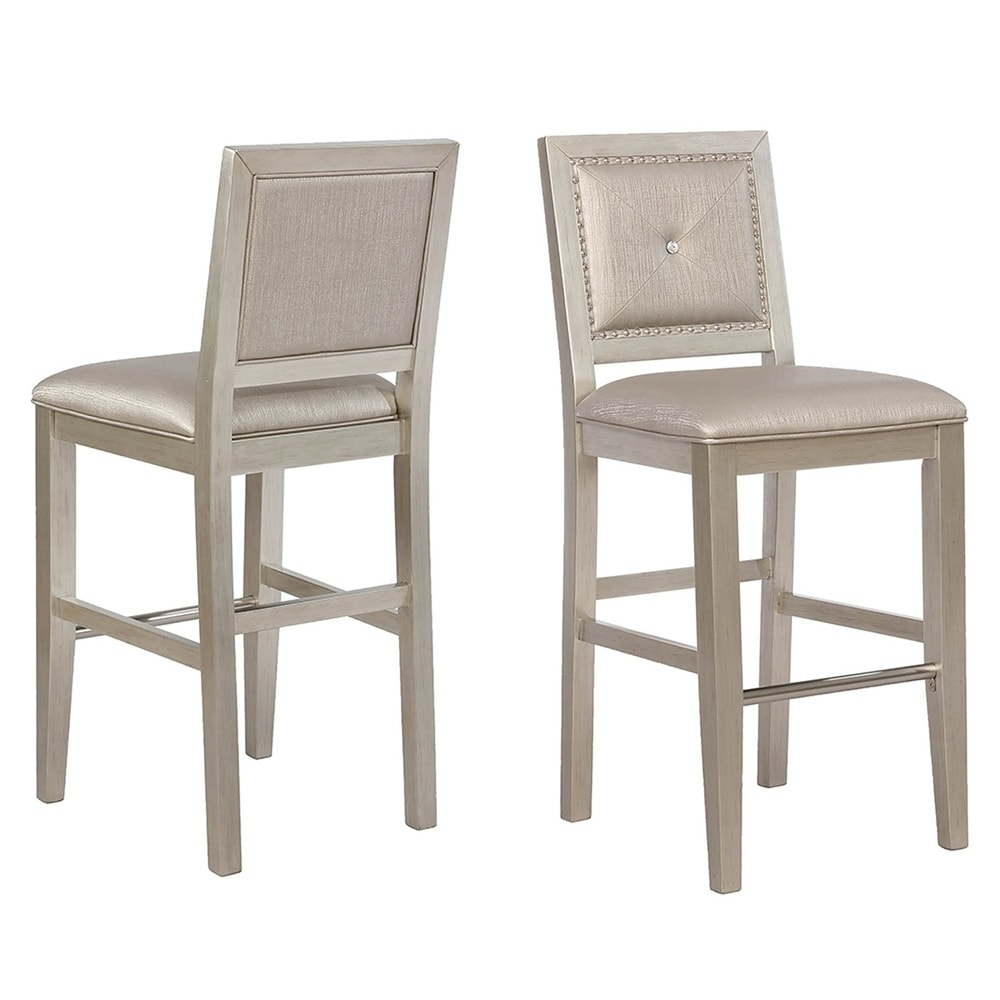 Upholstered Bar Chairs Coaster Metallic Platinum Upholstered Bar Stools Set Of 2