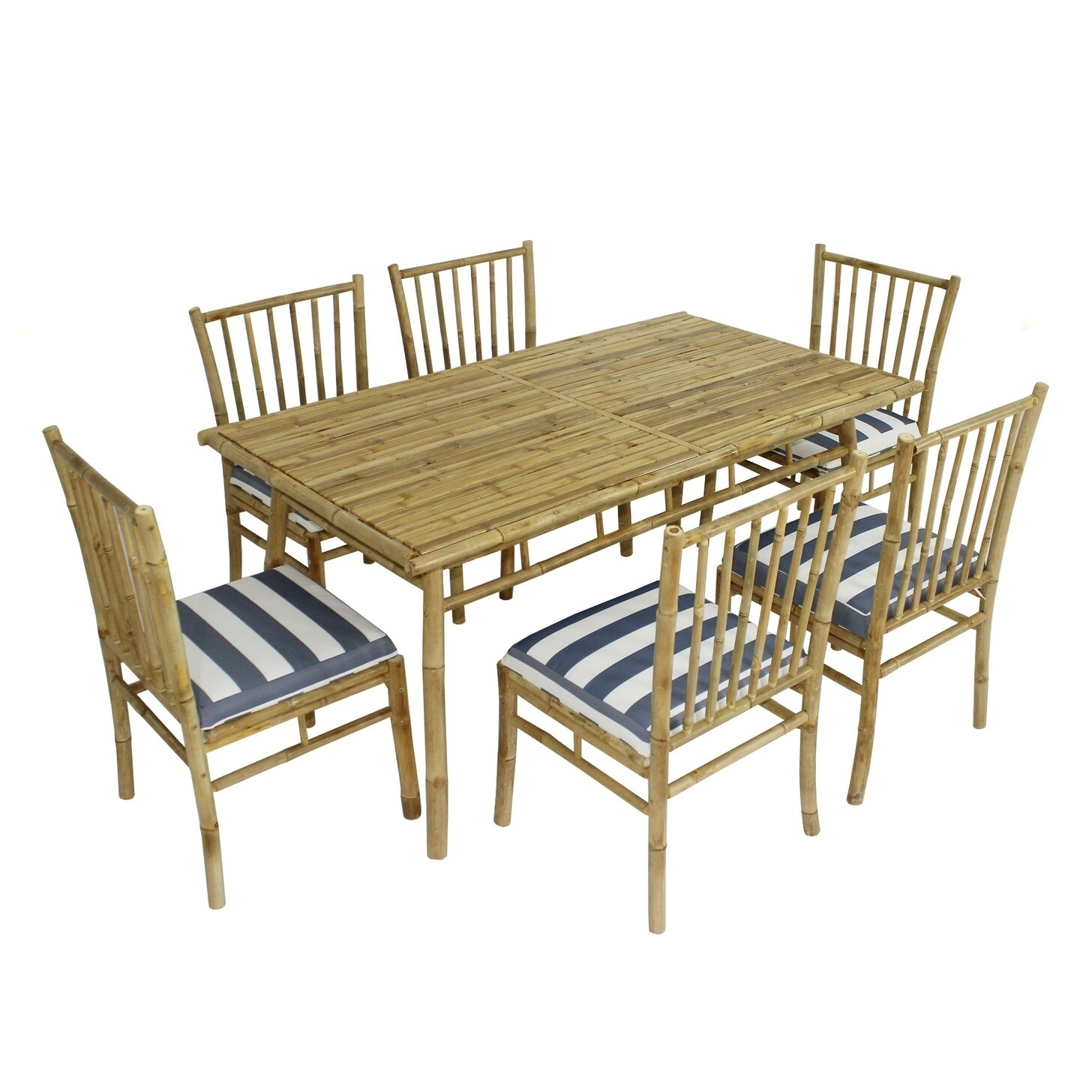 Bamboo Chairs Dining Set Of 6 White Blue Stripes Bamboo Chairs Rectangular Table