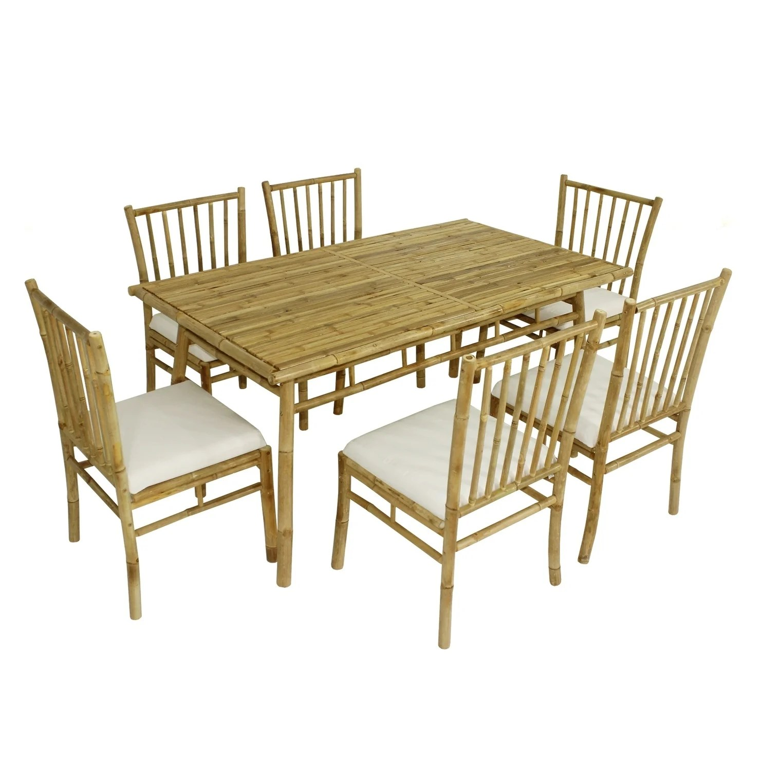 Bamboo Chairs Dining Set Of 6 White Bamboo Chairs And Large Rectangular Table