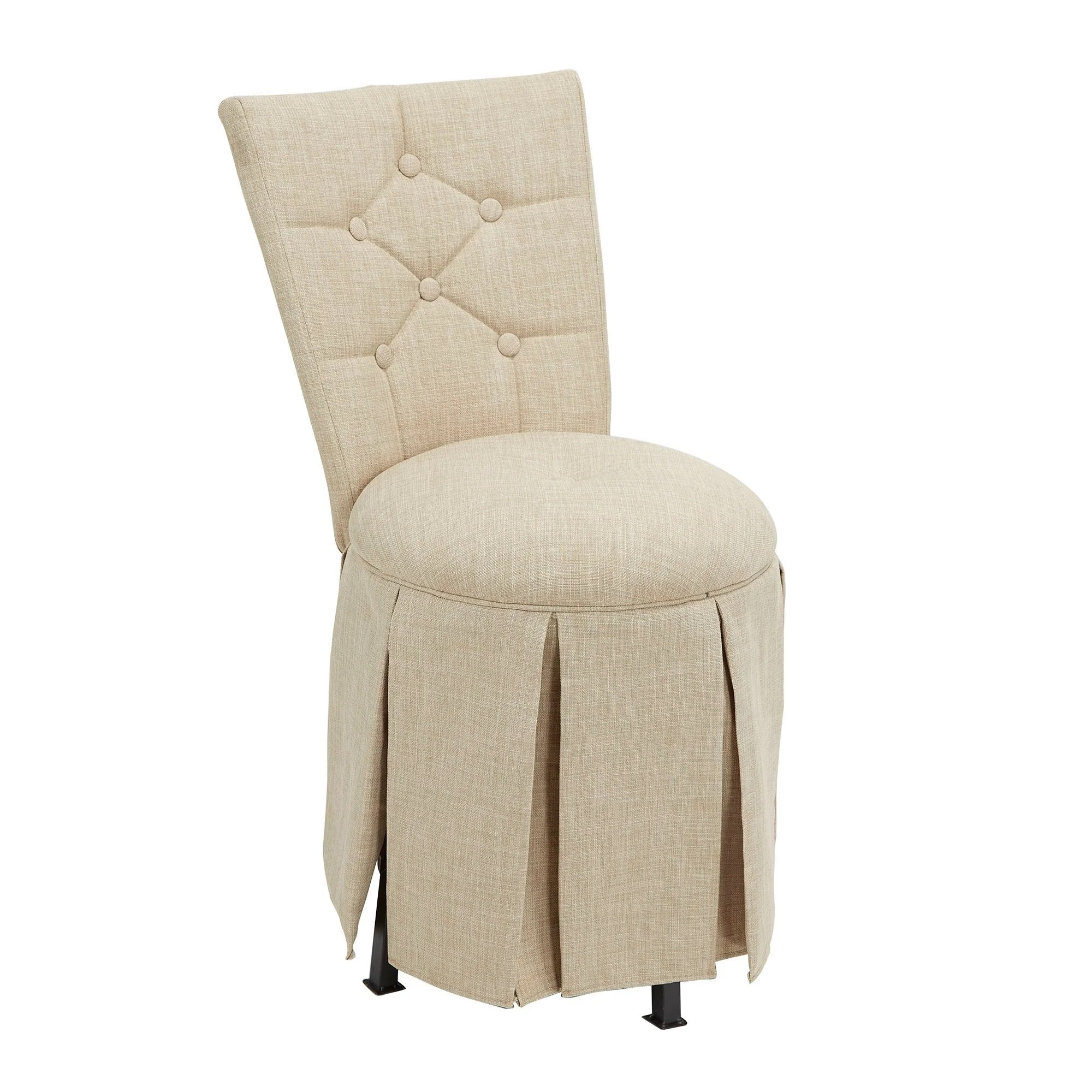 Swivel Vanity Chair Smith Skirted Swivel Vanity Chair With Diamond Tufted Back