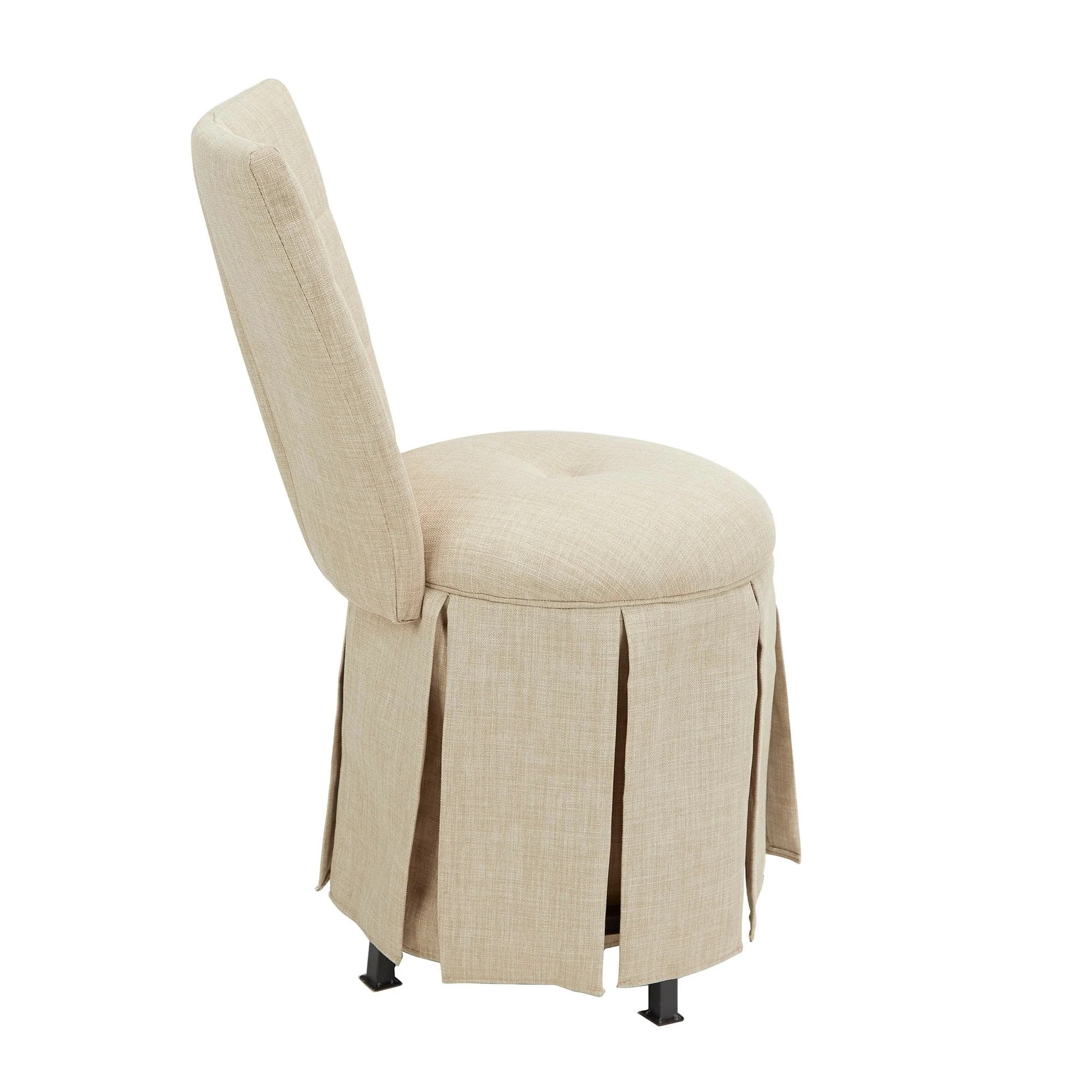 Tufted Vanity Chair Smith Skirted Swivel Vanity Chair With Diamond Tufted Back