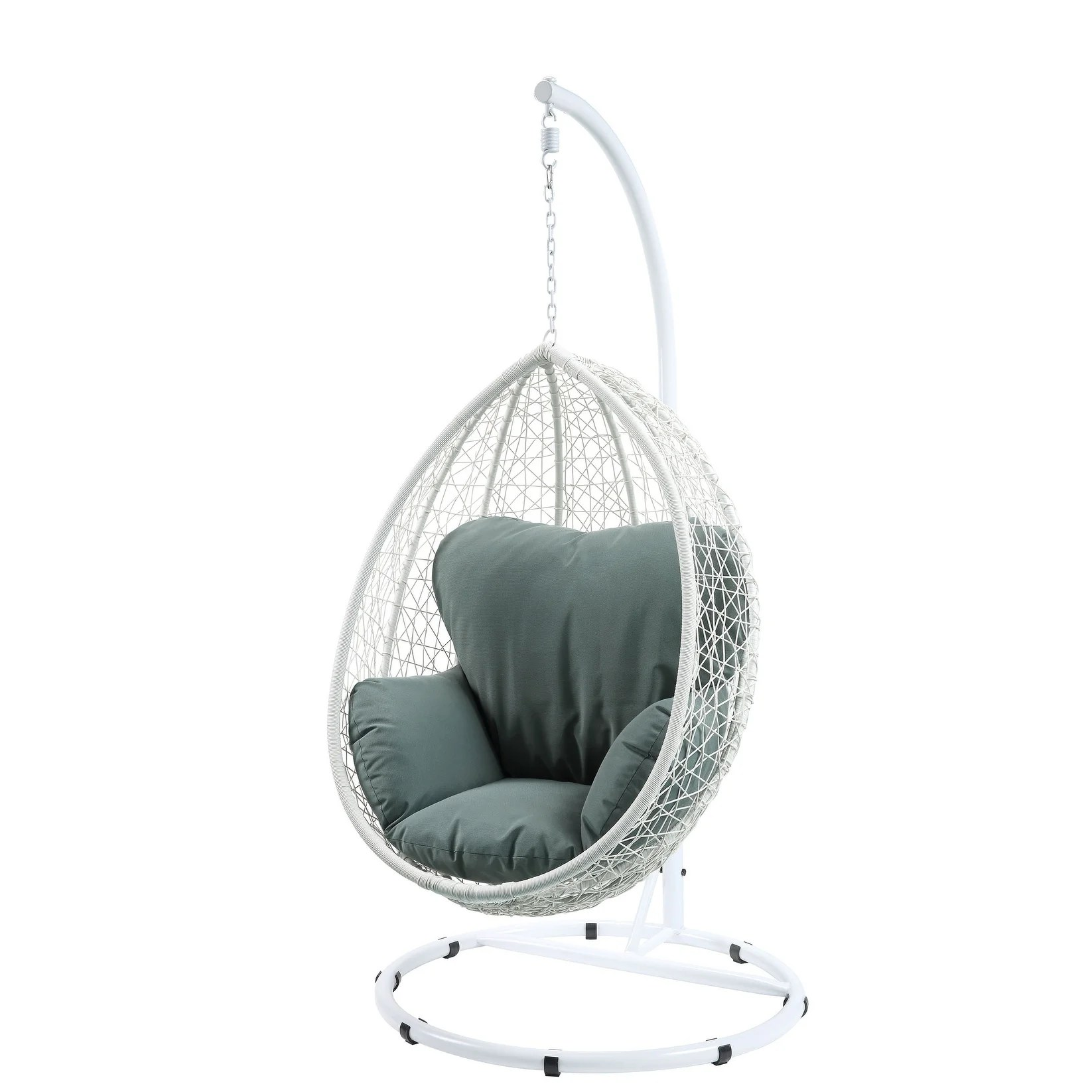 Swing Chair Stand Acme Simona Patio Swing Chair With Stand Green Fabric White Wicker