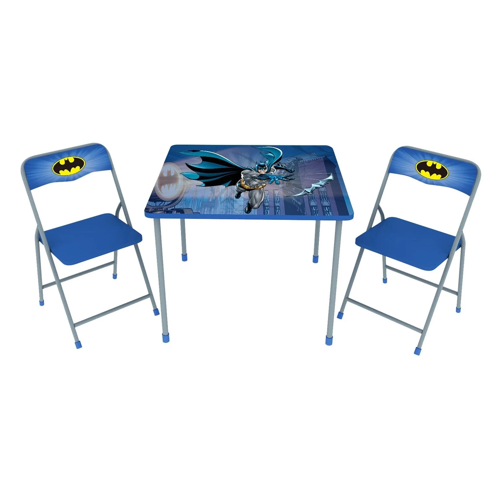 Childrens Folding Table And Chairs O Kids Batman Children S Three Piece Metal Table Chair Set