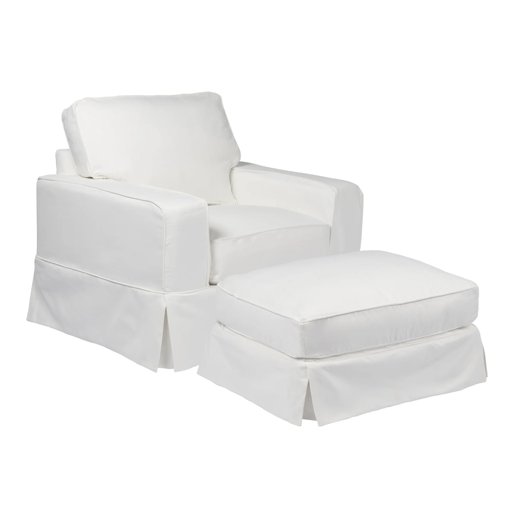 gray chair and ottoman slipcovers gaming reviews 2018 shop sunset trading americana slipcover set performance white