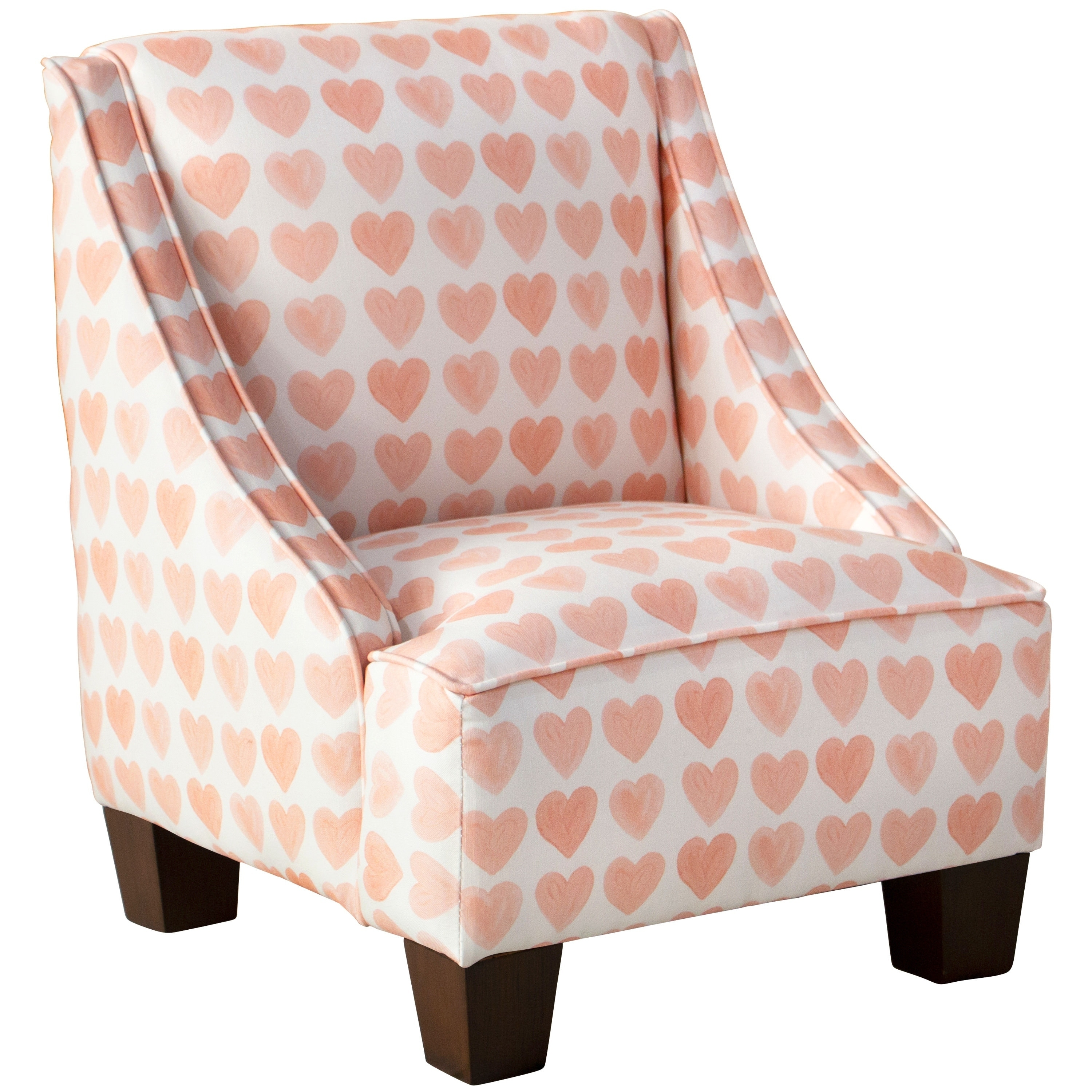 kids arm chairs white leather task chair shop skyline furniture swoop in hearts peach on