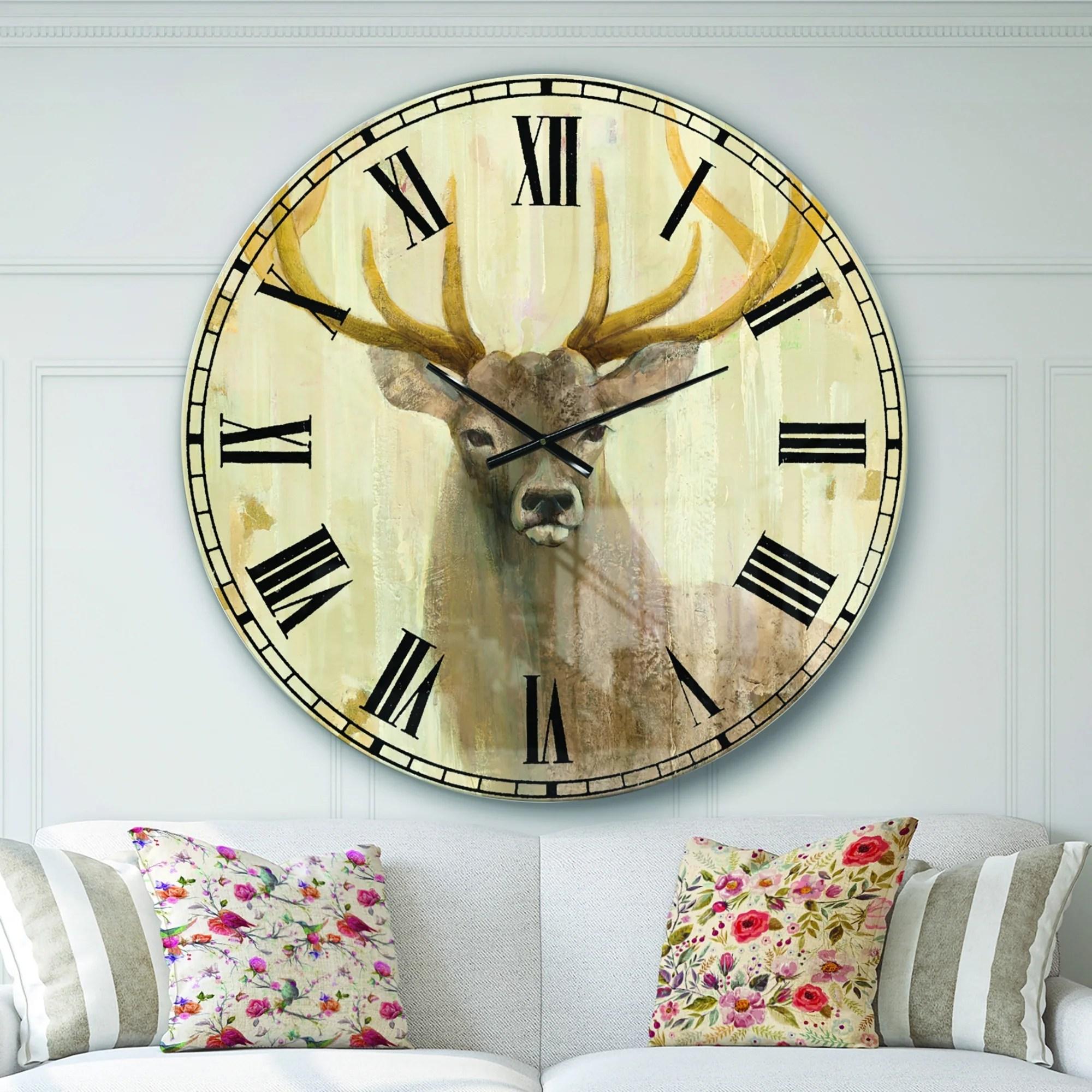 Designart Goldern Deer Iii Modern Farmhouse Oversized Metal Clock
