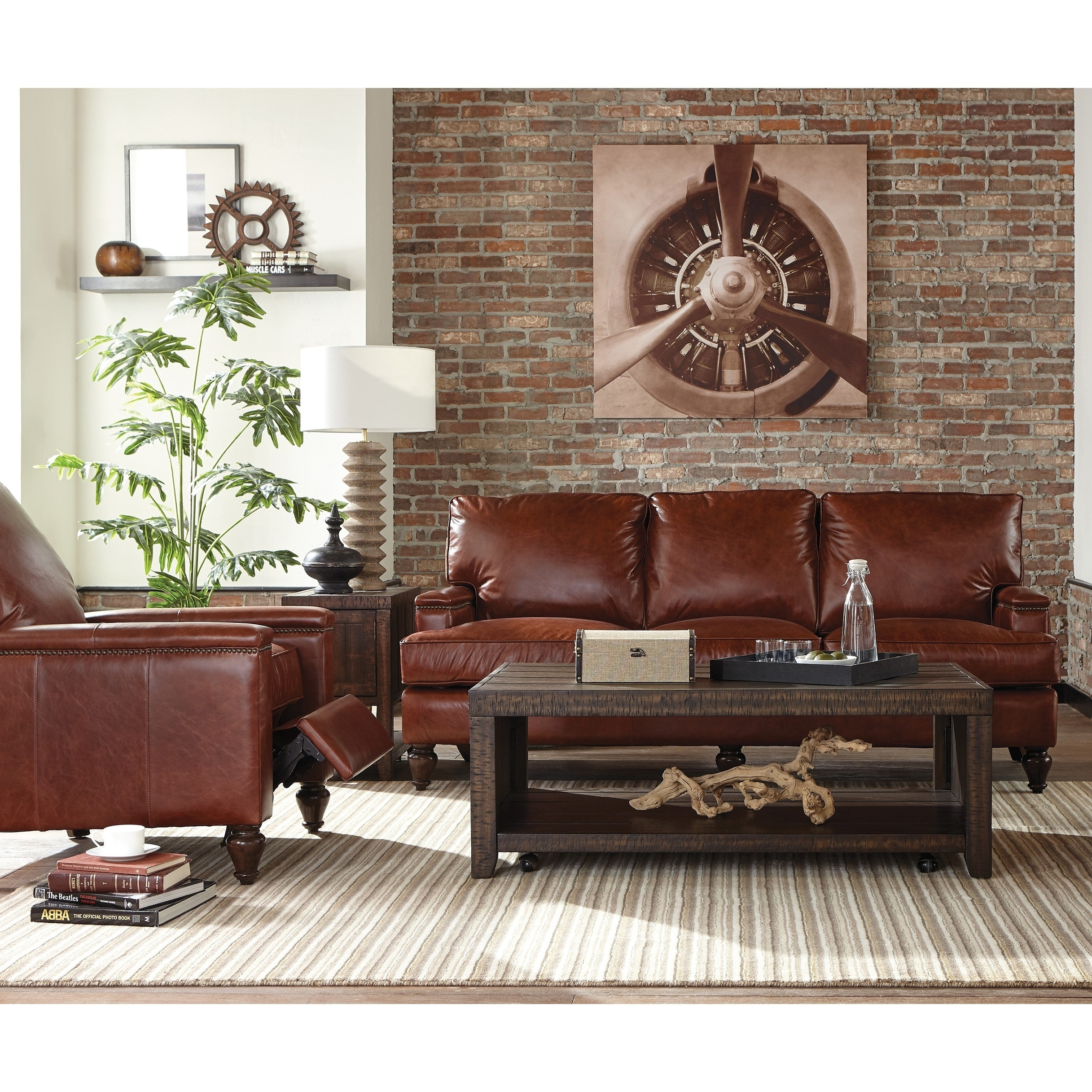 recliner living room set black furniture shop oakland two piece brown leather sofa and free shipping today overstock com 26451500