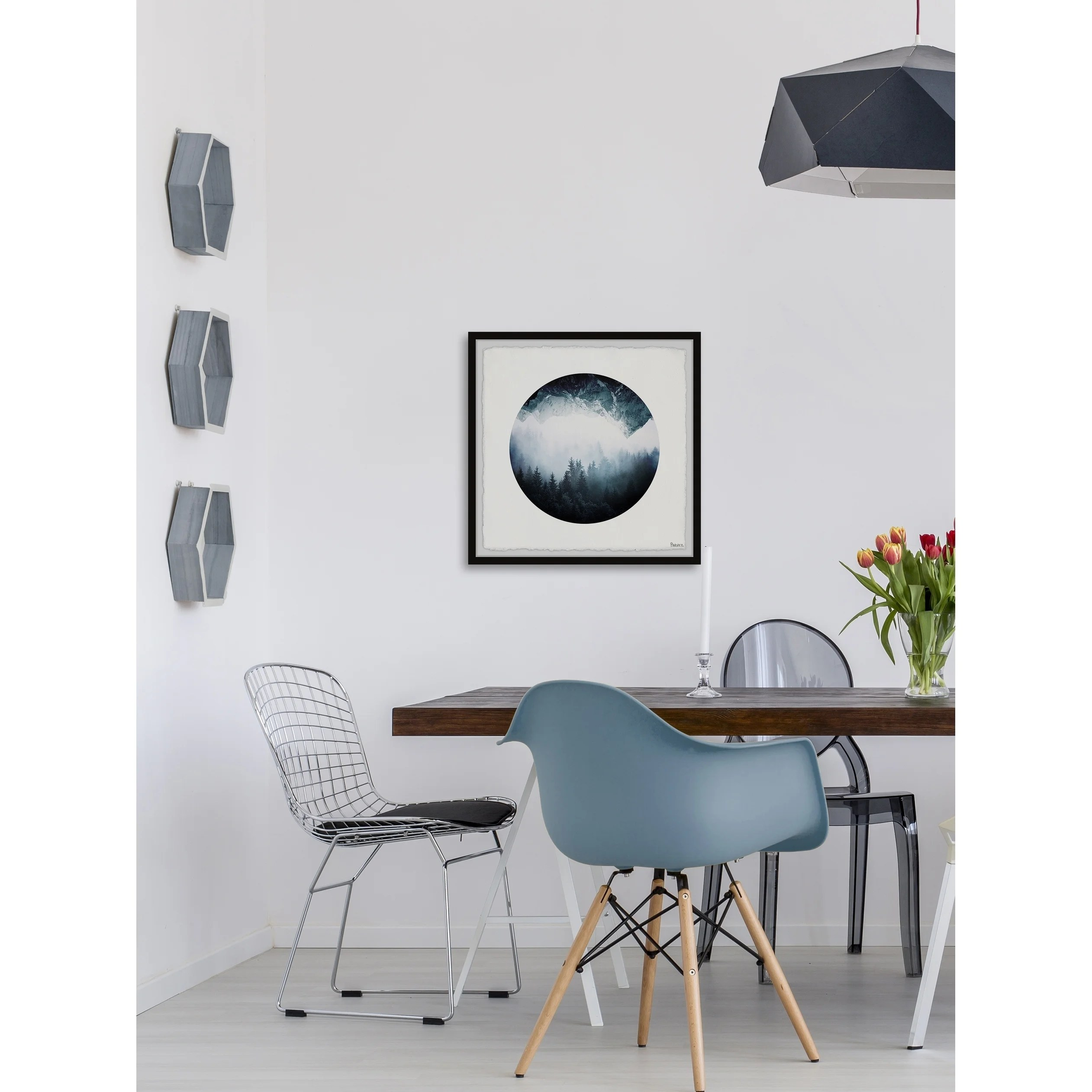chair upside down on wall bows for chairs shop forest mountain framed painting print multi color free shipping today overstock com 26640685