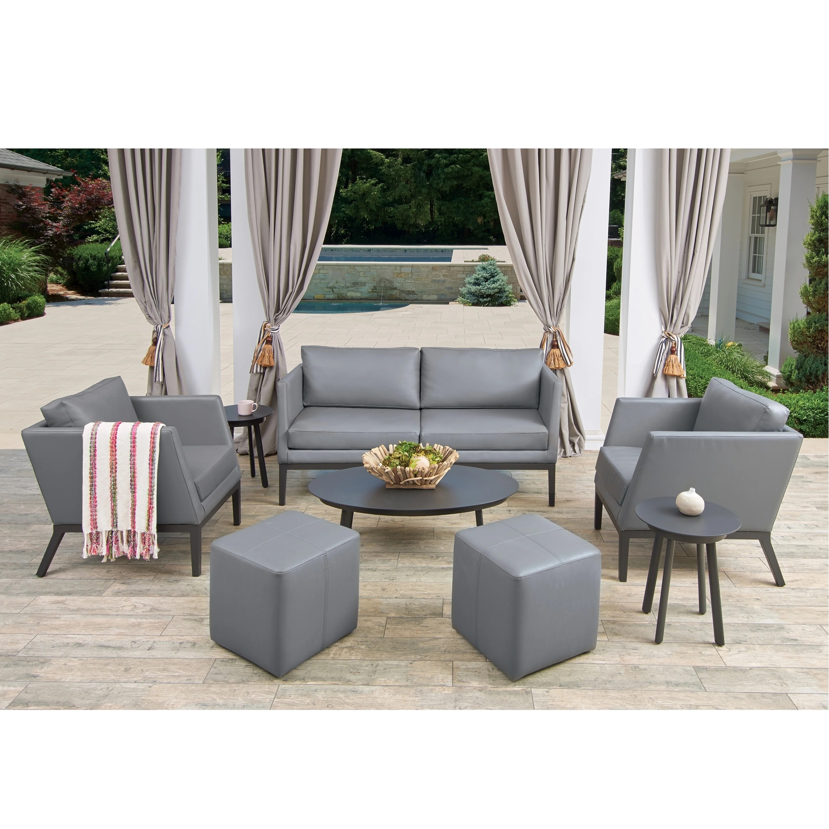 Chairs With Ottoman Oxford Garden Salino 8 Piece Nickel Nauticau Synthetic Leather Sofa Club Chairs Ottoman Poufs And Eiland Tables Chat Set