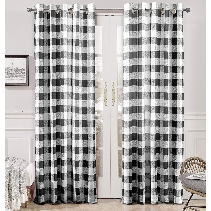 Porch & Den Alfalfa Plaid Pattern Room-darkening Window Curtains