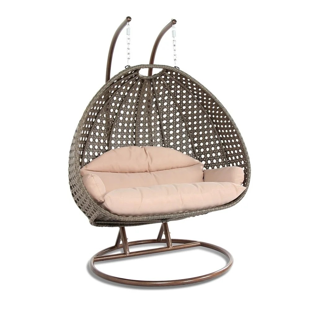 Egg Swing Chairs Leisuremod Indoor Outdoor Wicker 2 Person Hanging Egg Swing Chair N A