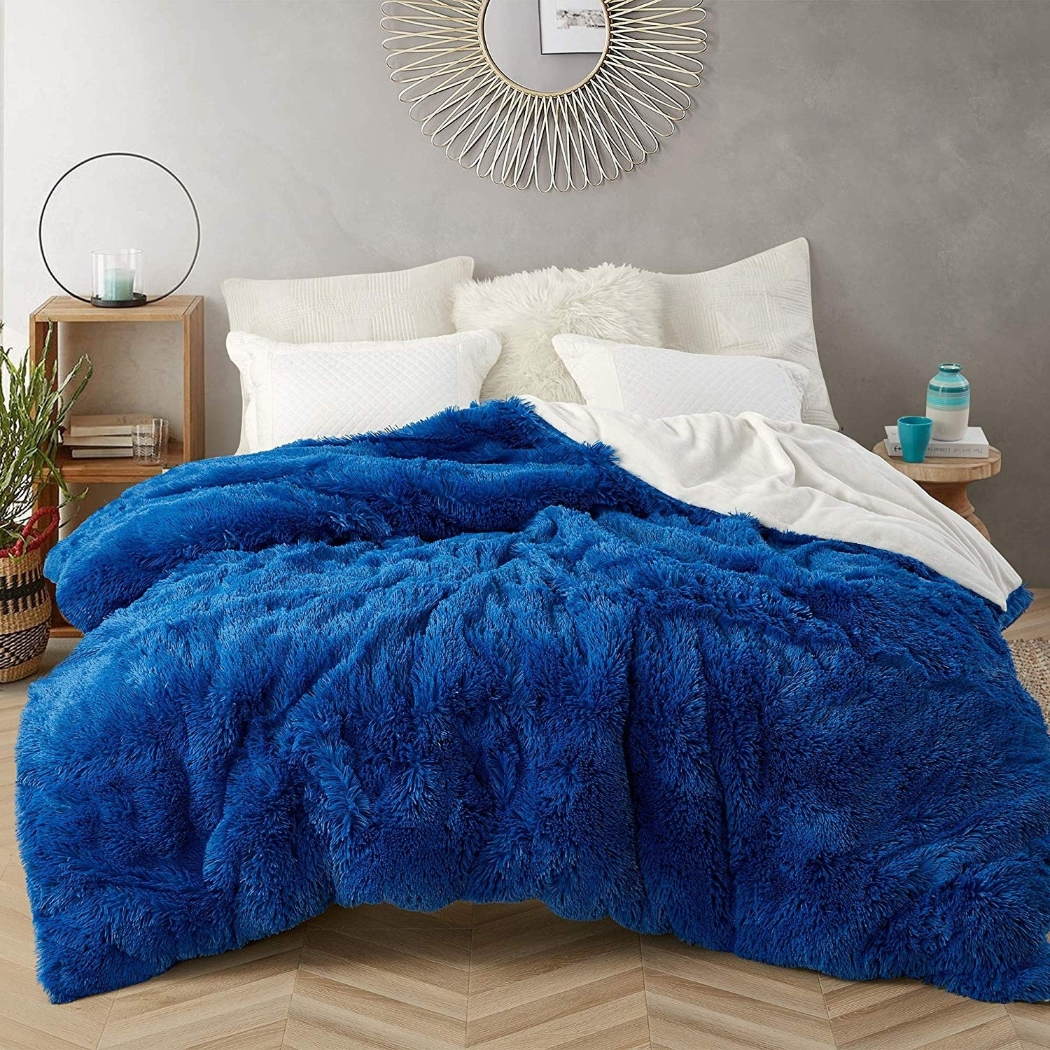 Coma Inducer Oversized Duvet Cover Are You Kidding Royal Blue White Overstock 29003860