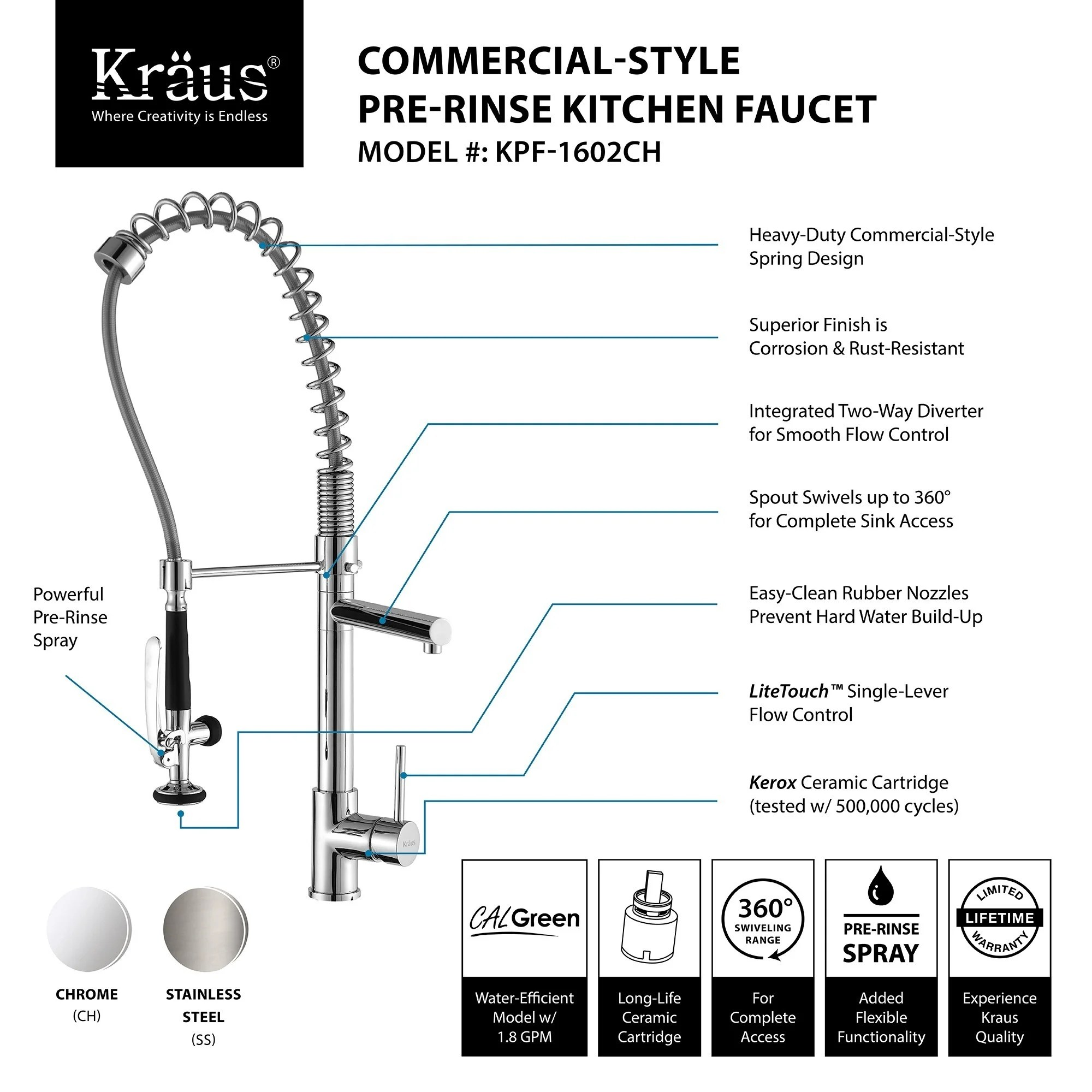 heavy duty kitchen faucet color choices for cabinets shop kraus kpf 1602 commercial style 1 handle 2 function pre rinse sprayhead pull down on sale free shipping today overstock com