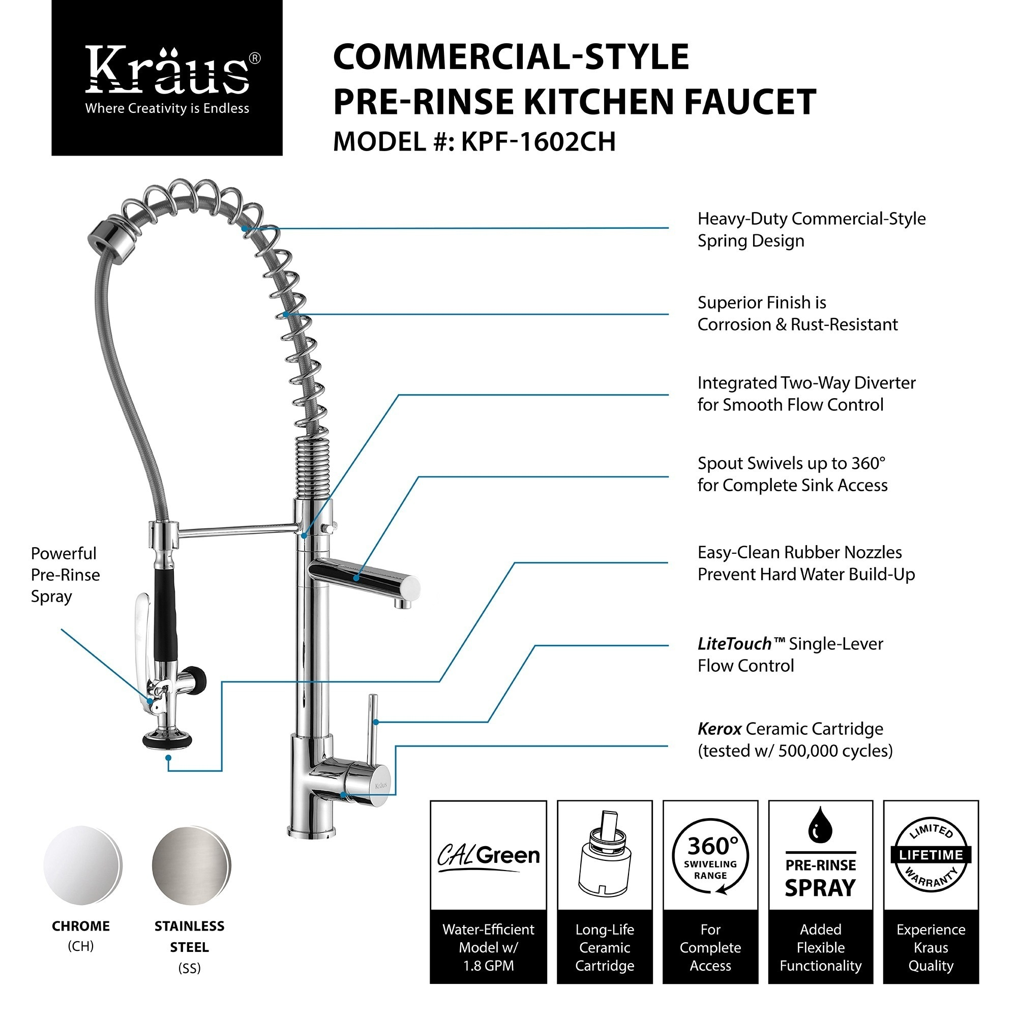 heavy duty kitchen faucet baby pink appliances shop kraus kpf 1602 commercial style 1 handle 2 function pre rinse sprayhead pull down on sale free shipping today overstock com